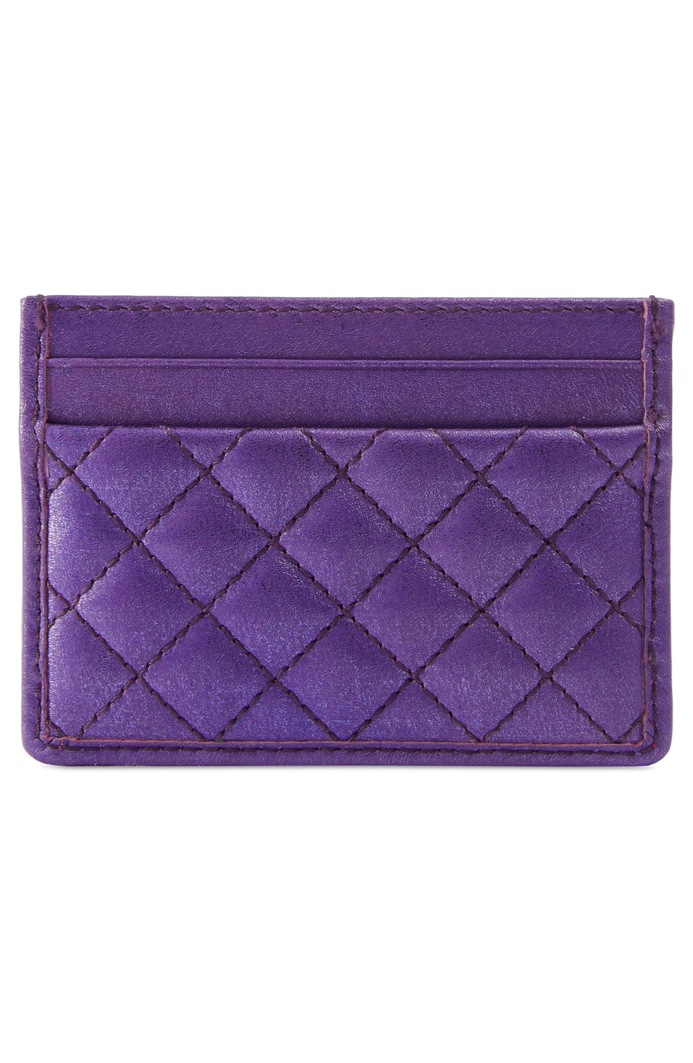 Quilted Metallic Leather Card Case,                             Alternate thumbnail 3, color,                             ROSSO/ FUXIA