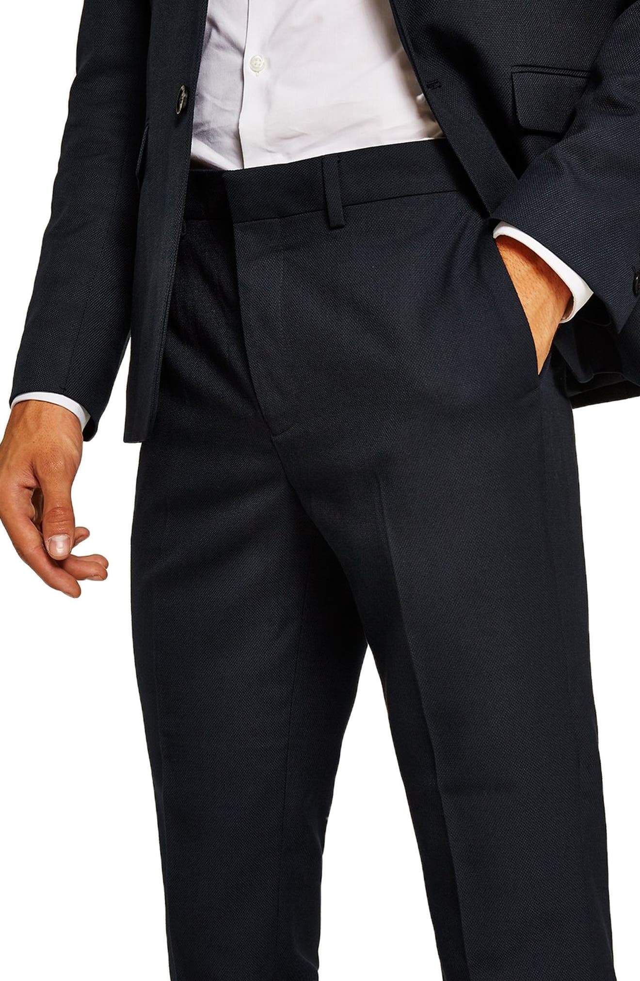 Skinny Fit Textured Trousers,                             Alternate thumbnail 3, color,                             401