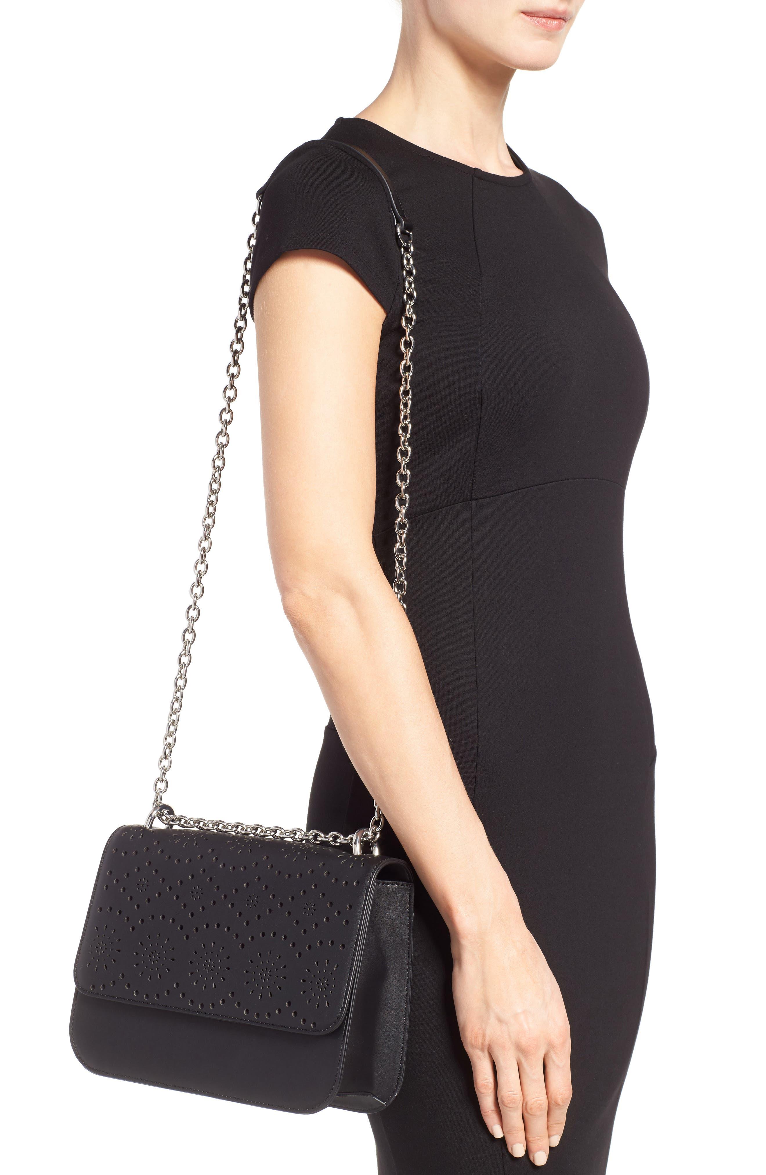 Dahlia Perforated Faux Leather Shoulder Bag,                             Alternate thumbnail 2, color,                             001