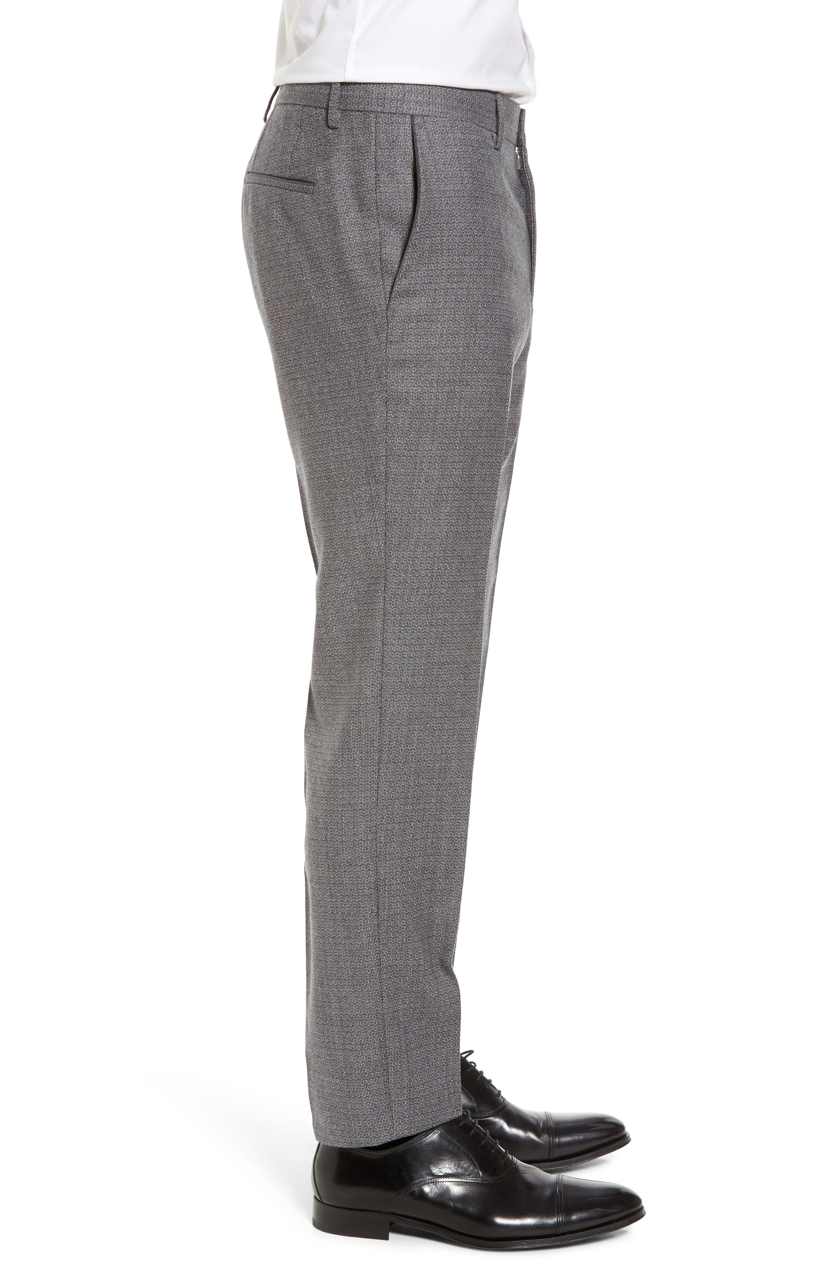 Giro Flat Front Solid Wool Trousers,                             Alternate thumbnail 3, color,                             030