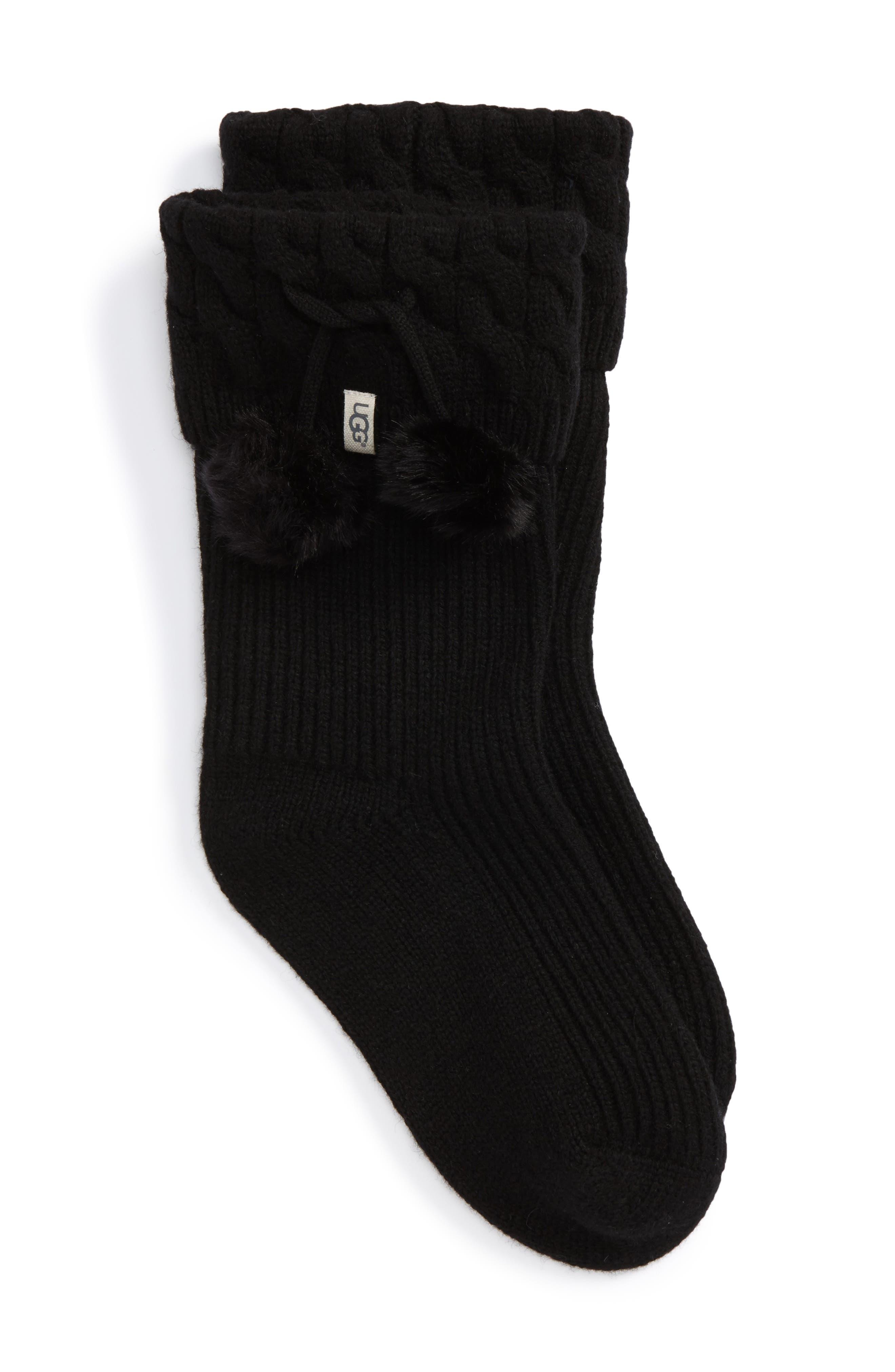 UGGpure<sup>™</sup> Pompom Short Rain Boot Sock,                             Main thumbnail 1, color,                             001