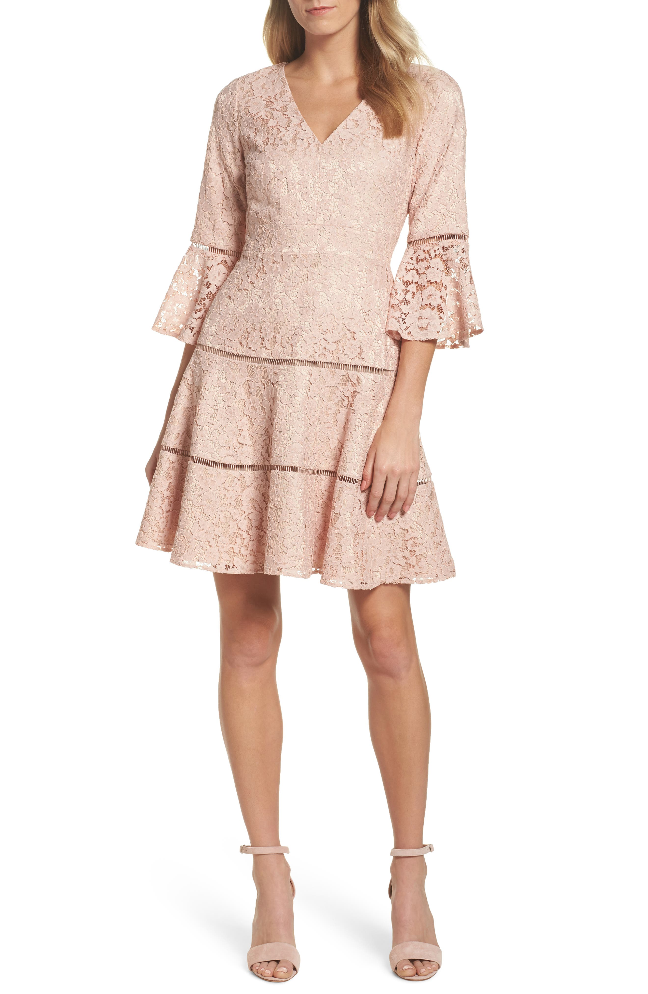 Bell Sleeve Lace Fit & Flare Dress,                             Main thumbnail 2, color,