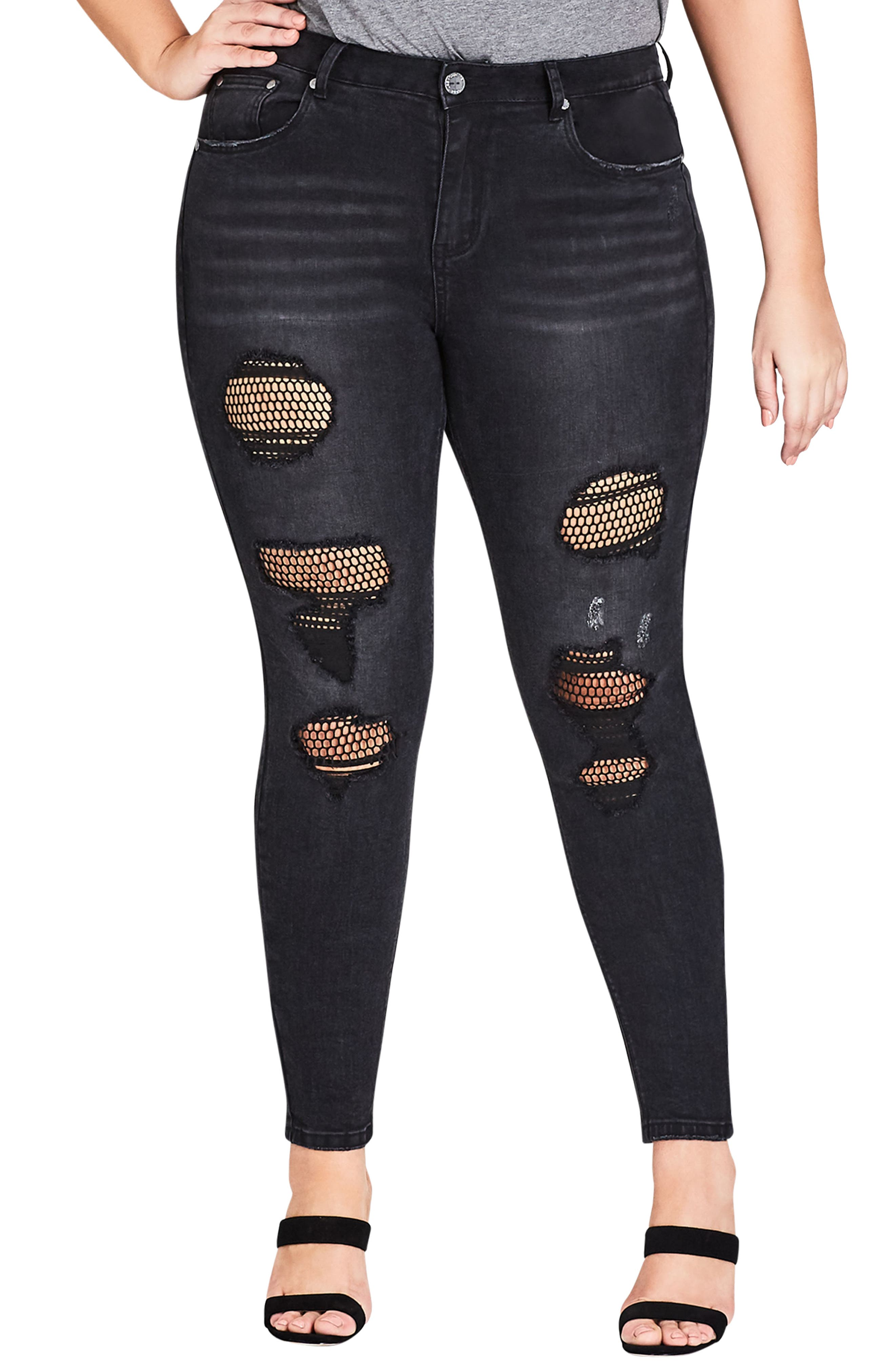 CITY CHIC,                             Fishnet Ripped Skinny Jeans,                             Main thumbnail 1, color,                             001