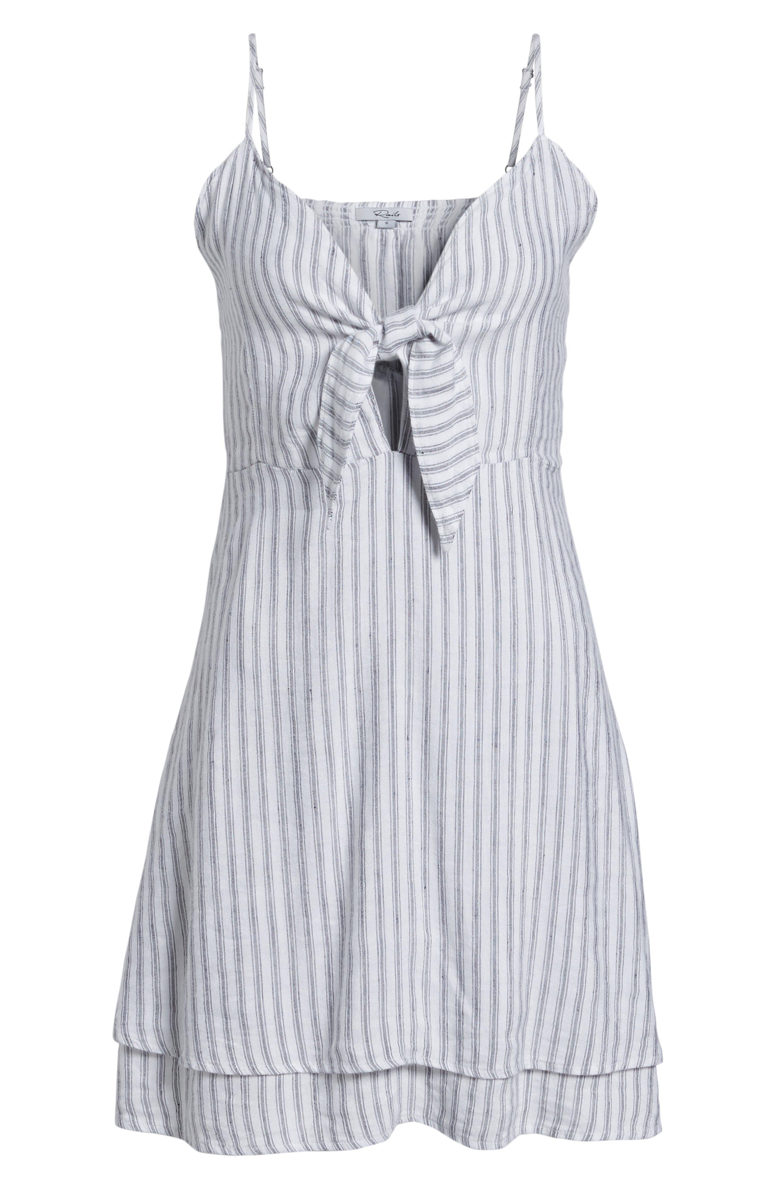 August Stripe Tie Front Dress,                             Alternate thumbnail 7, color,                             CANELA STRIPE