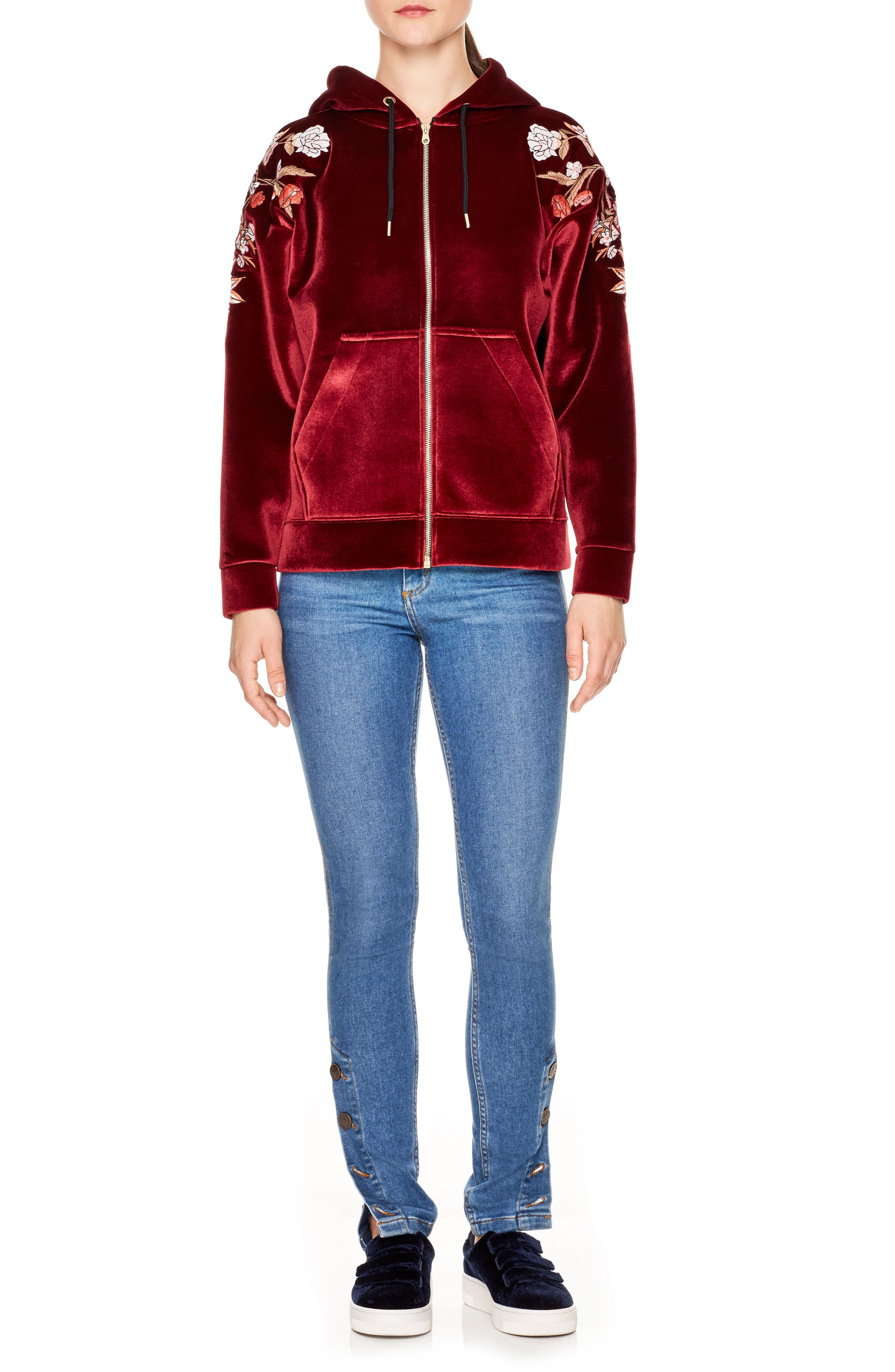 Embroidered Velvet Hoodie,                             Main thumbnail 1, color,                             930
