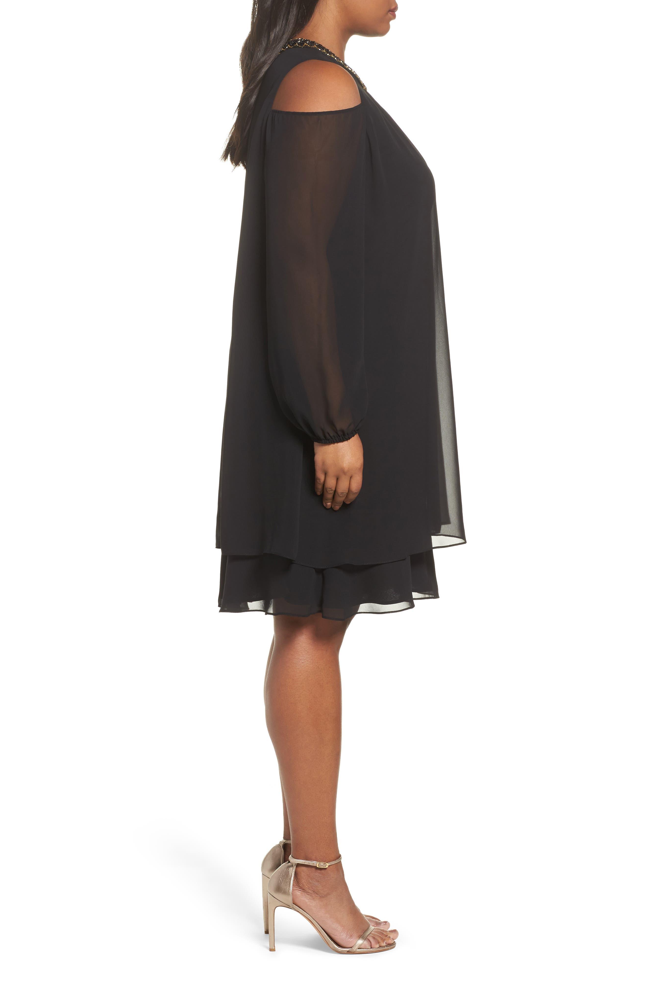 Embellished Cold Shoulder Shift Dress,                             Alternate thumbnail 3, color,                             011