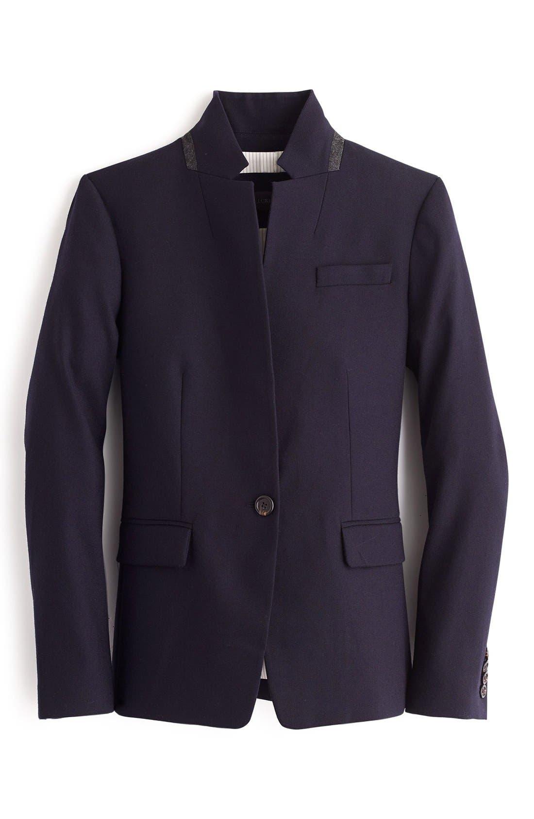 Regent Stand Collar Blazer,                             Alternate thumbnail 5, color,                             NAVY