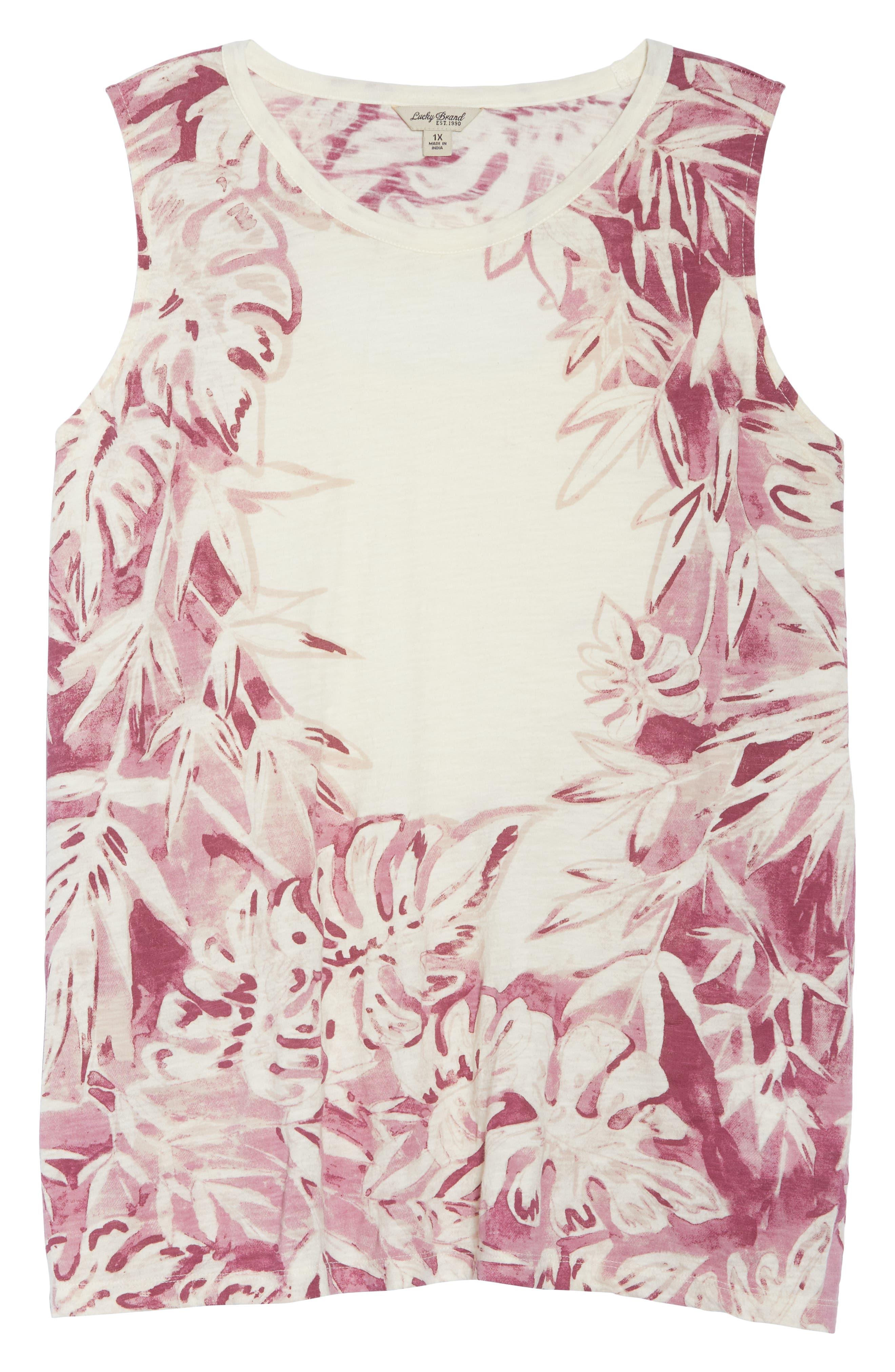 Print Floral Tank,                             Alternate thumbnail 7, color,                             BERRY MULTI