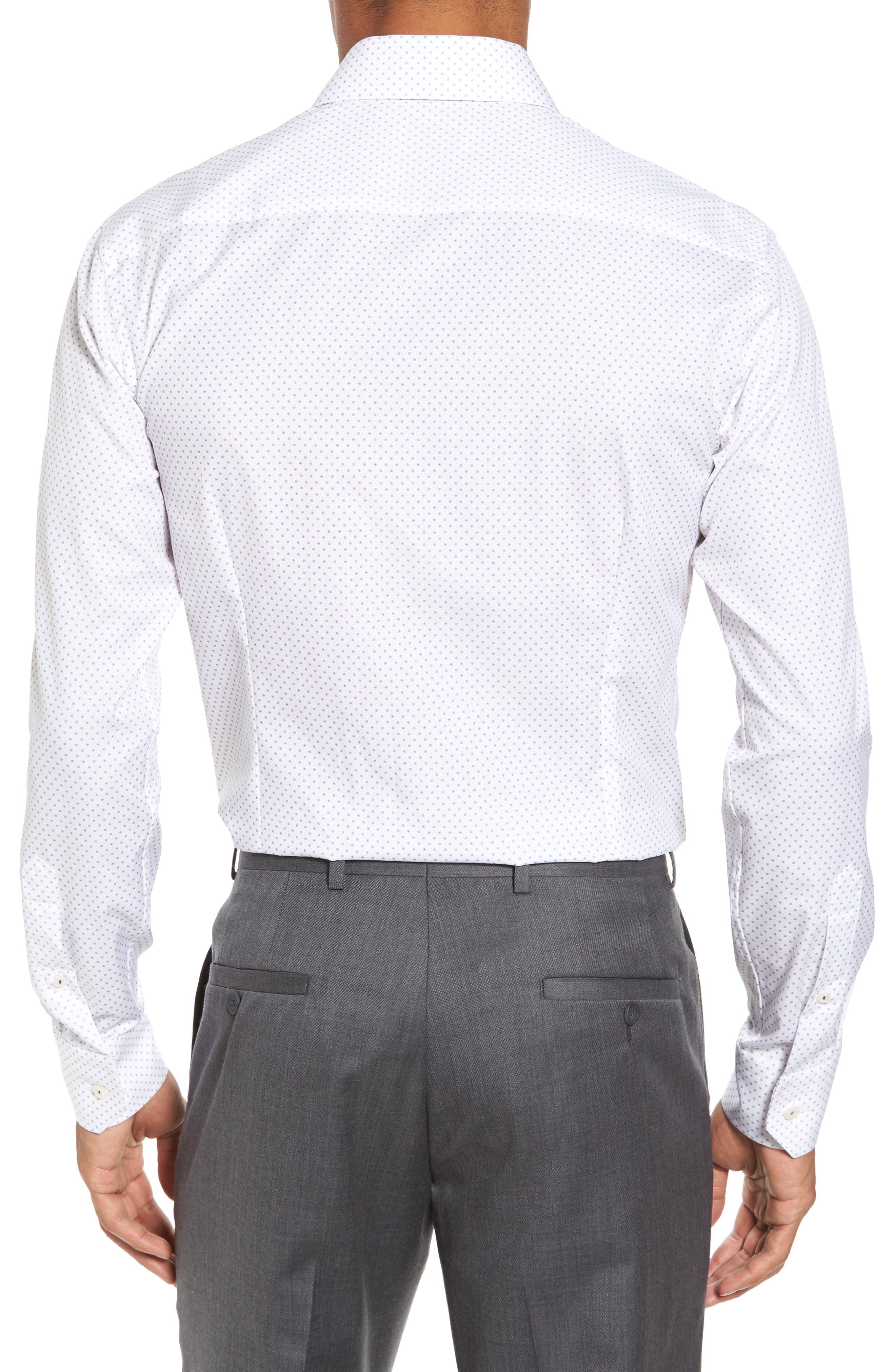 Slim Fit Dot Dress Shirt,                             Alternate thumbnail 2, color,                             100