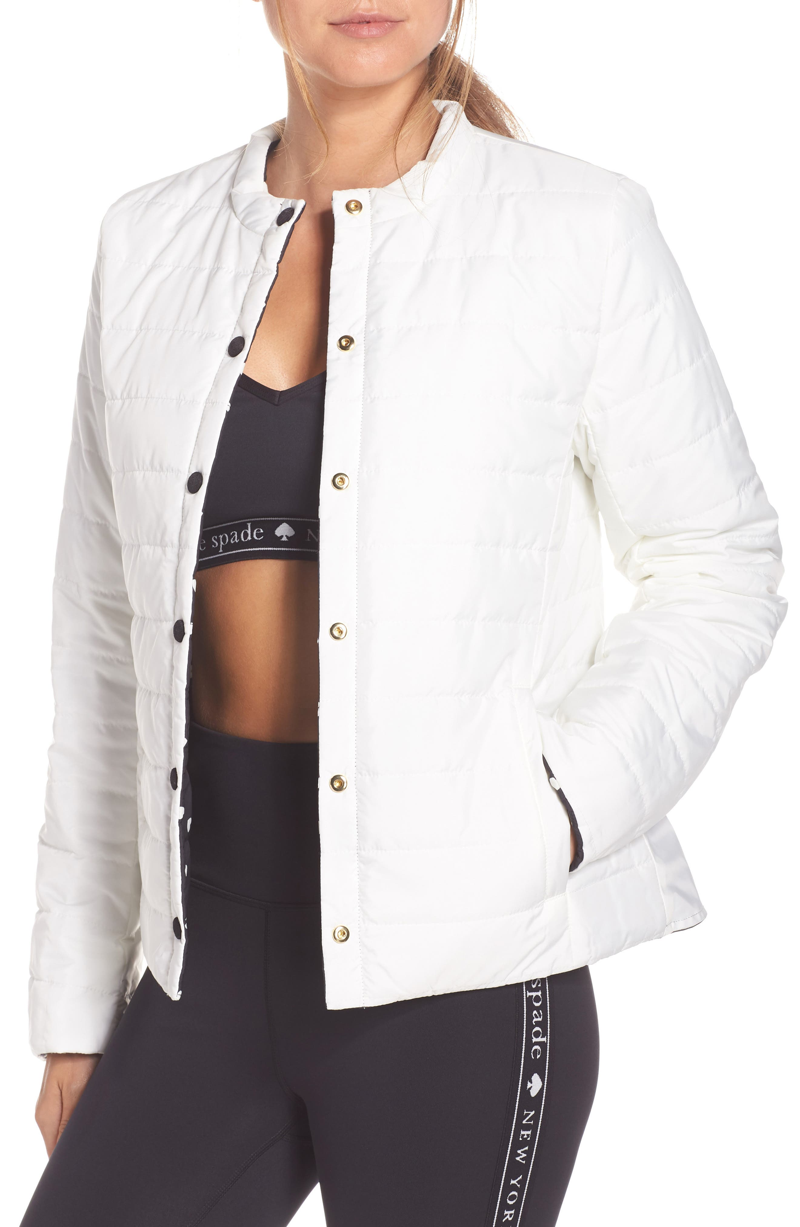 KATE SPADE NEW YORK,                             ruffle reversible quilted jacket,                             Alternate thumbnail 2, color,                             001