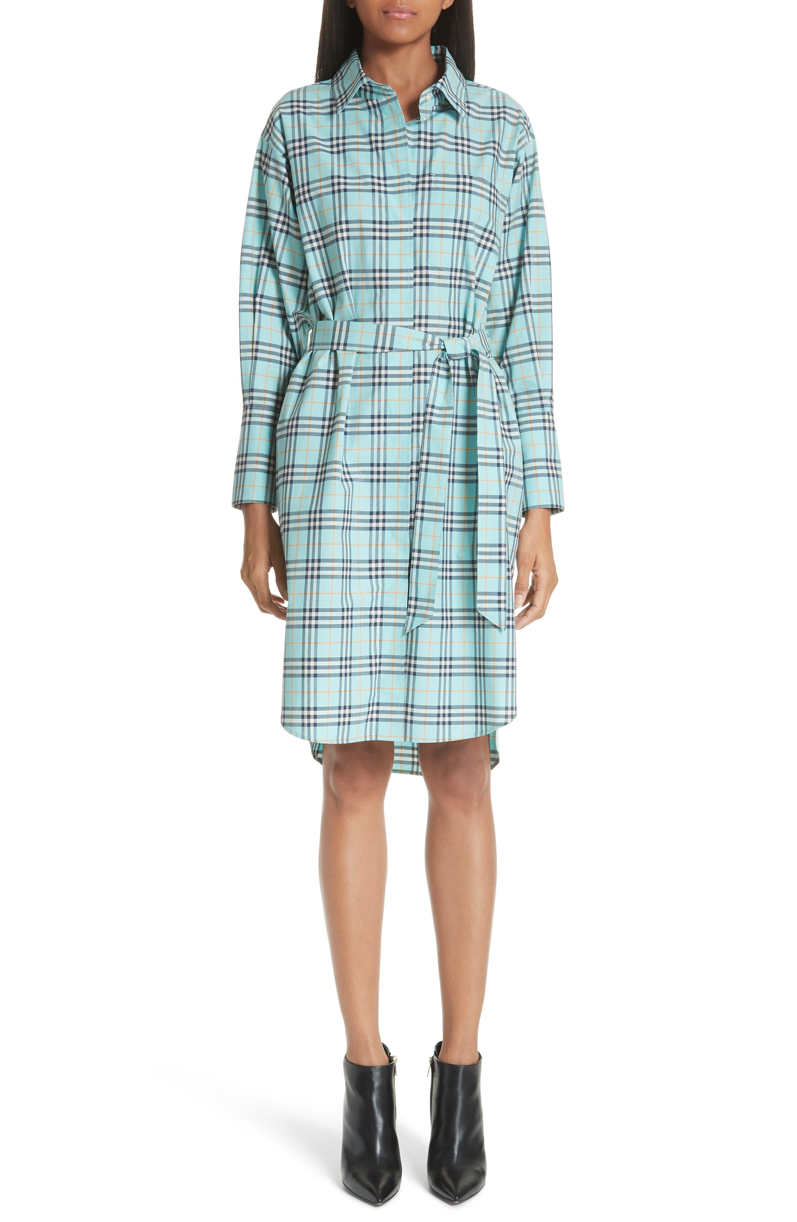 Isotto Tartan Shirtdress,                         Main,                         color, BRIGHT AQUA
