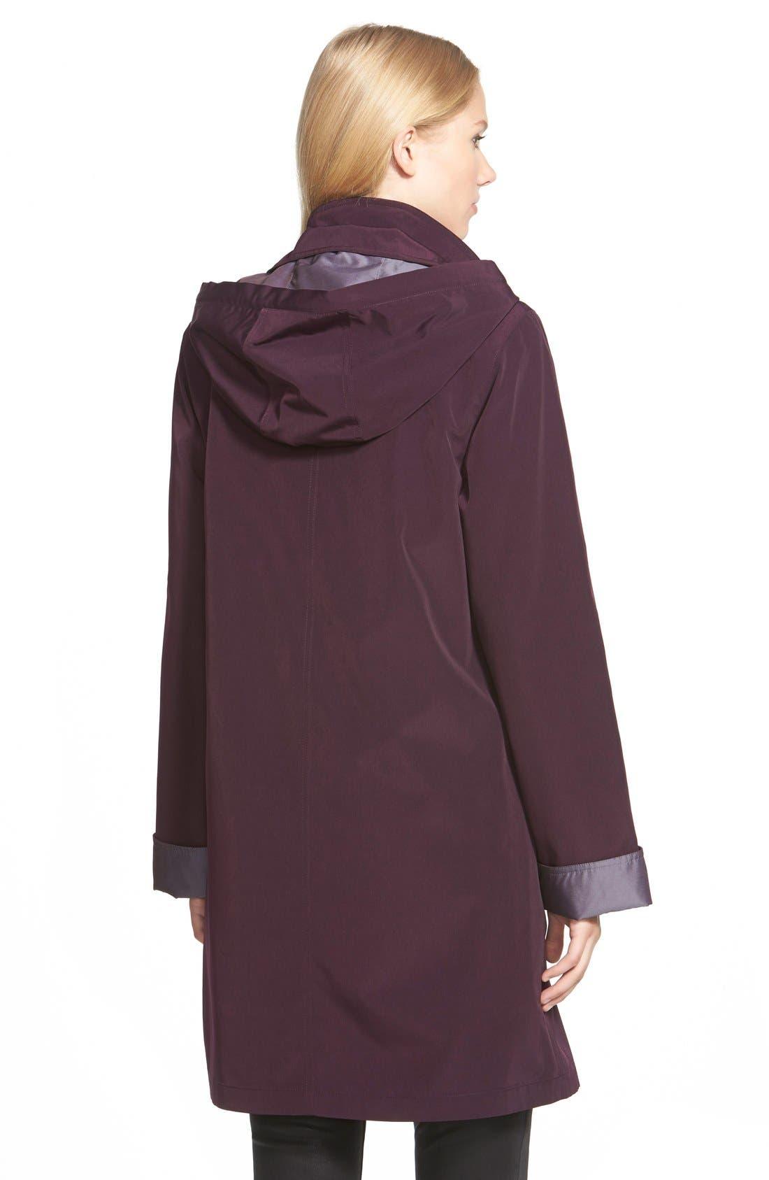 Two Tone Long Silk Look Raincoat,                             Alternate thumbnail 2, color,                             518
