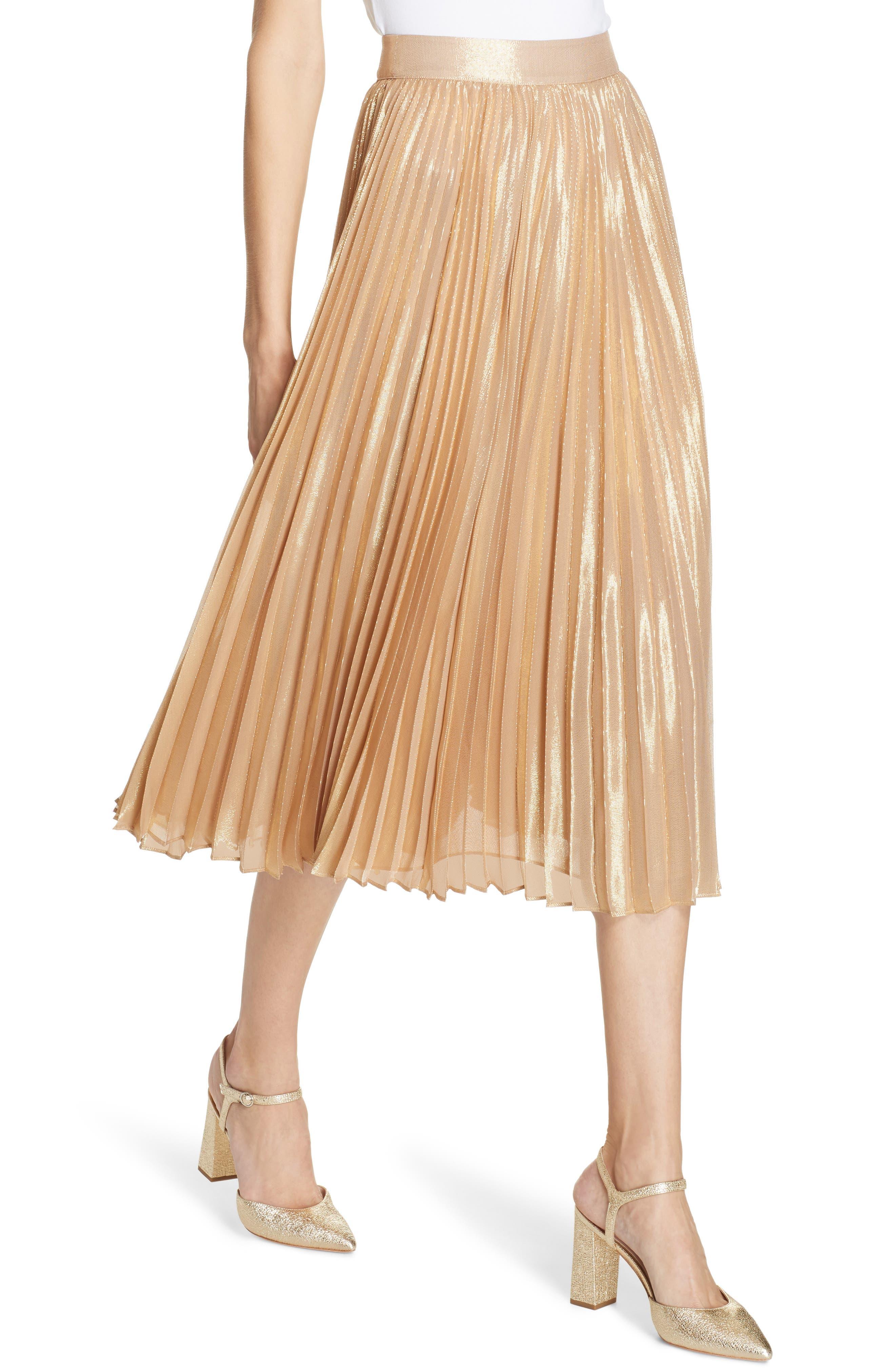 pleat metallic pleat midi skirt,                             Alternate thumbnail 4, color,                             ROASTED PEANUT