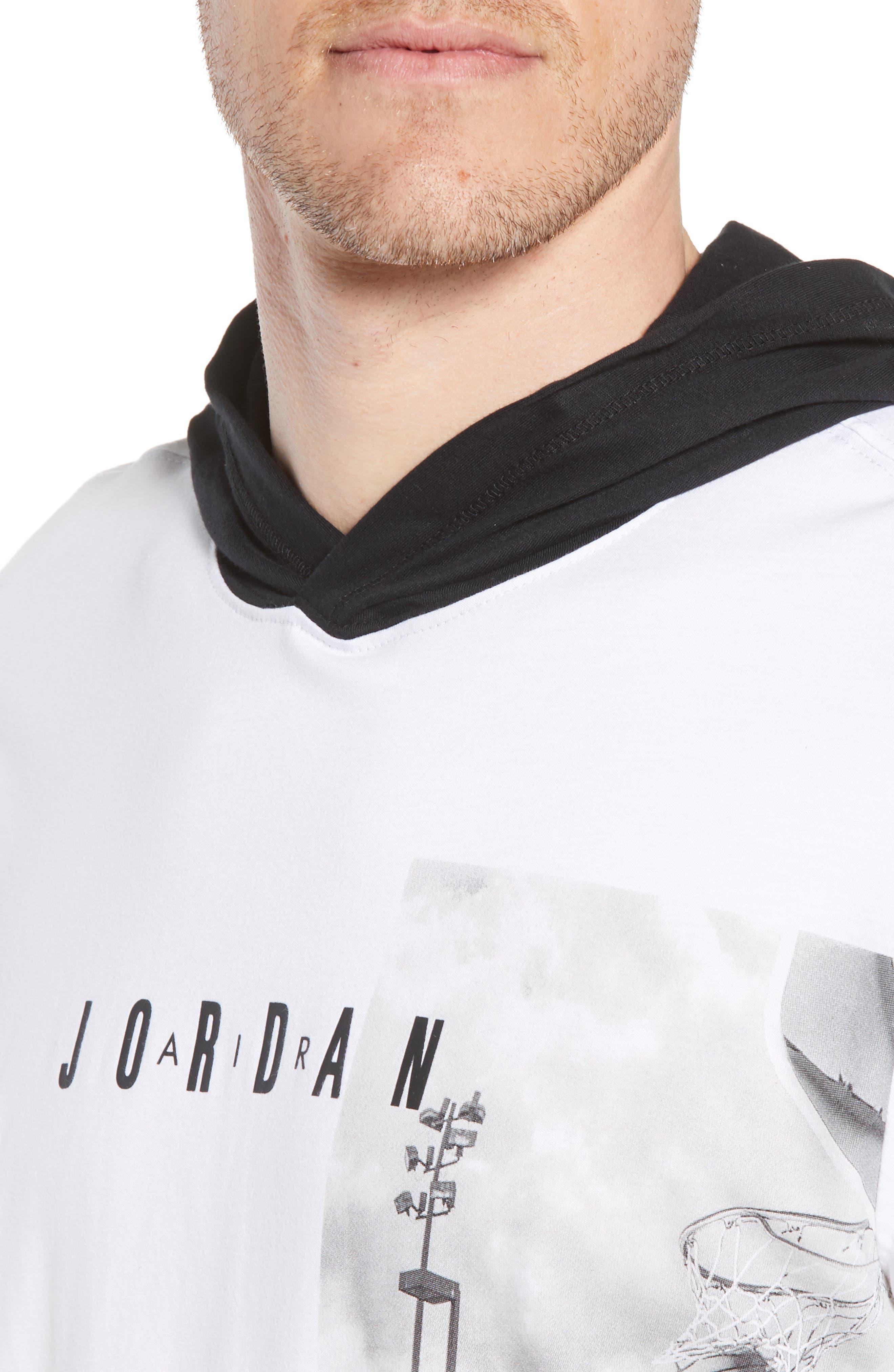 Modern Photo Hooded T-Shirt,                             Alternate thumbnail 4, color,                             WHITE/ BLACK