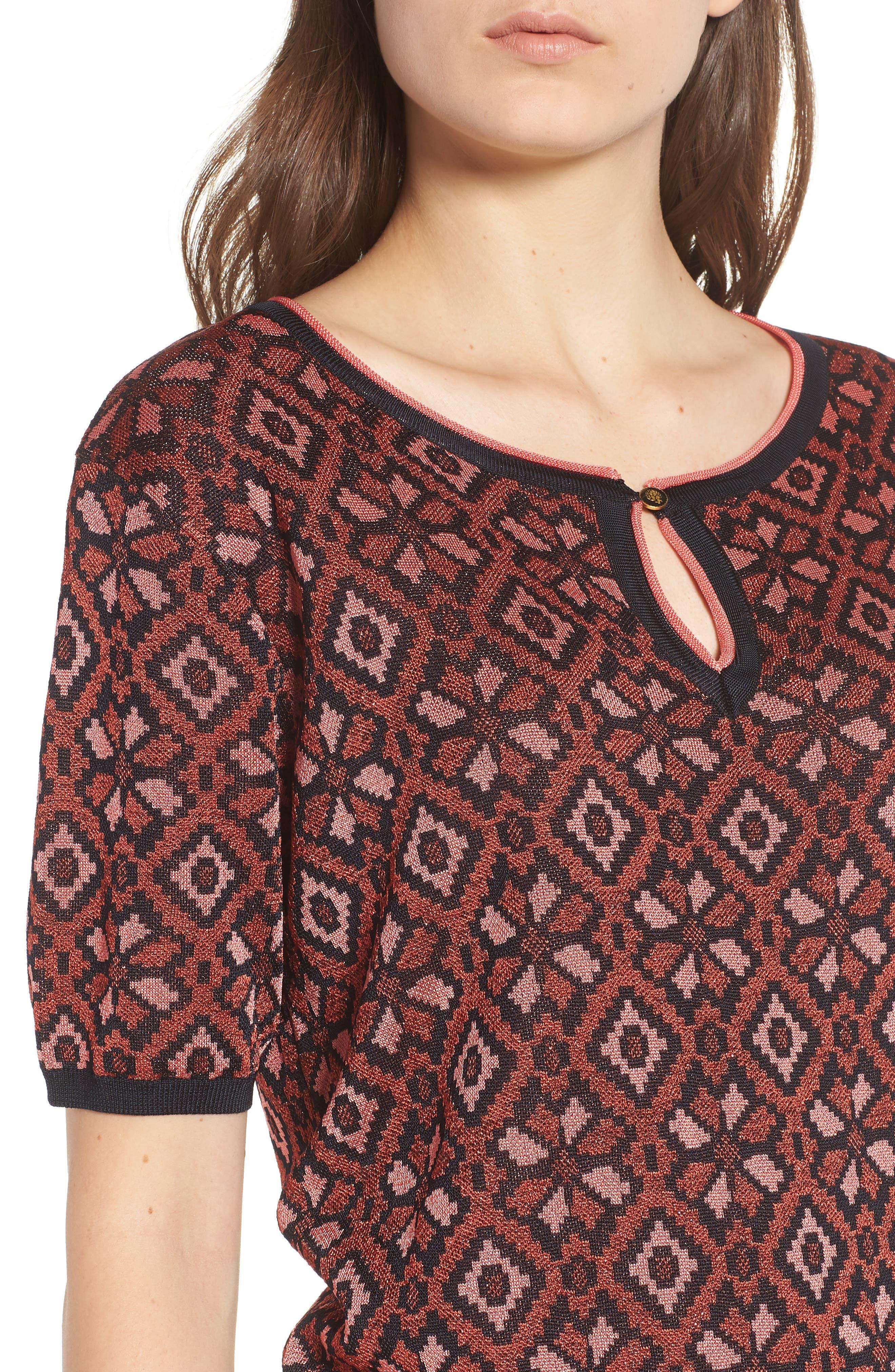 Tile Pattern Keyhole Sweater,                             Alternate thumbnail 4, color,                             600