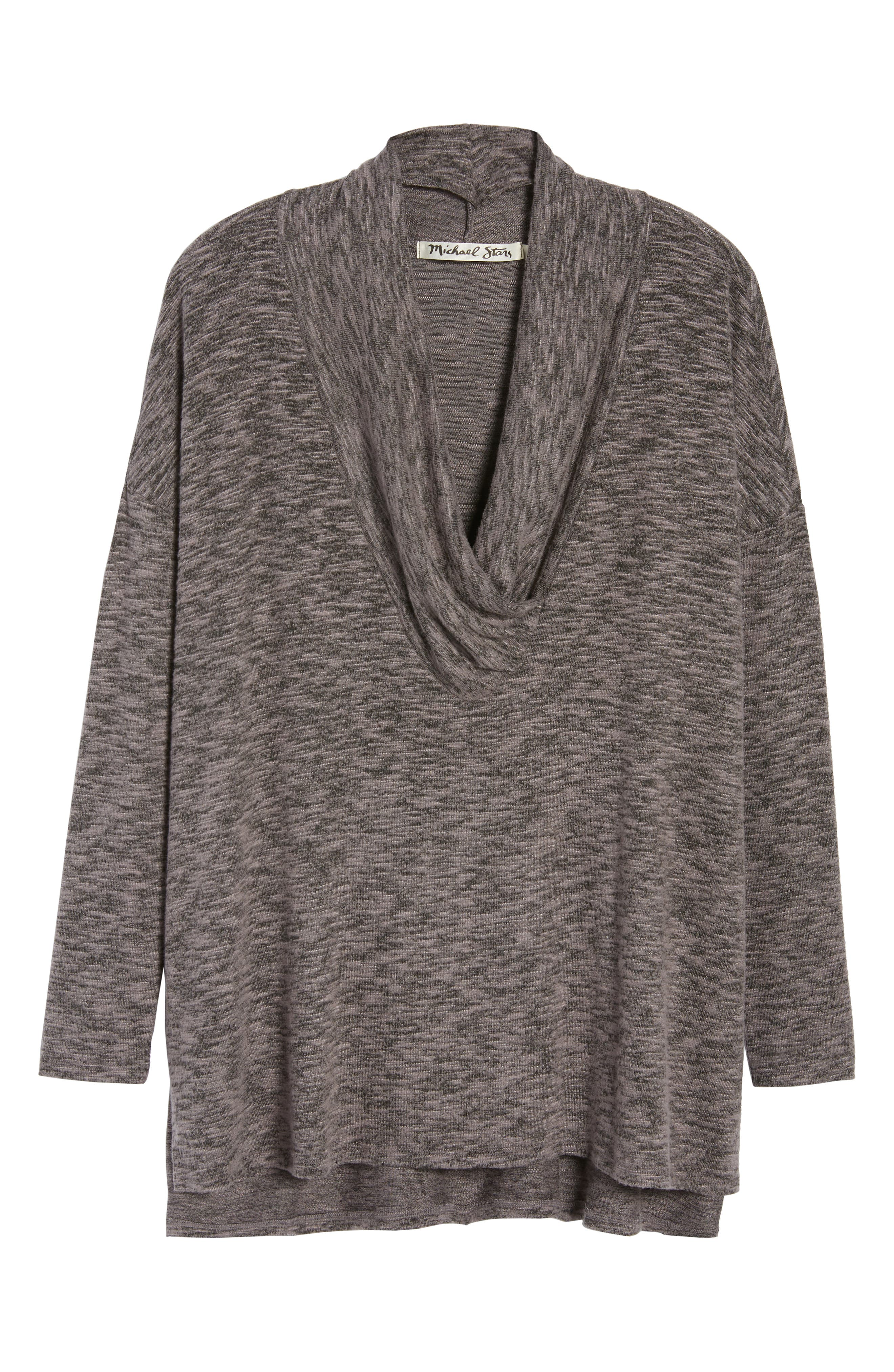 Cowl Neck Tunic Top,                             Alternate thumbnail 6, color,                             CHARCOAL