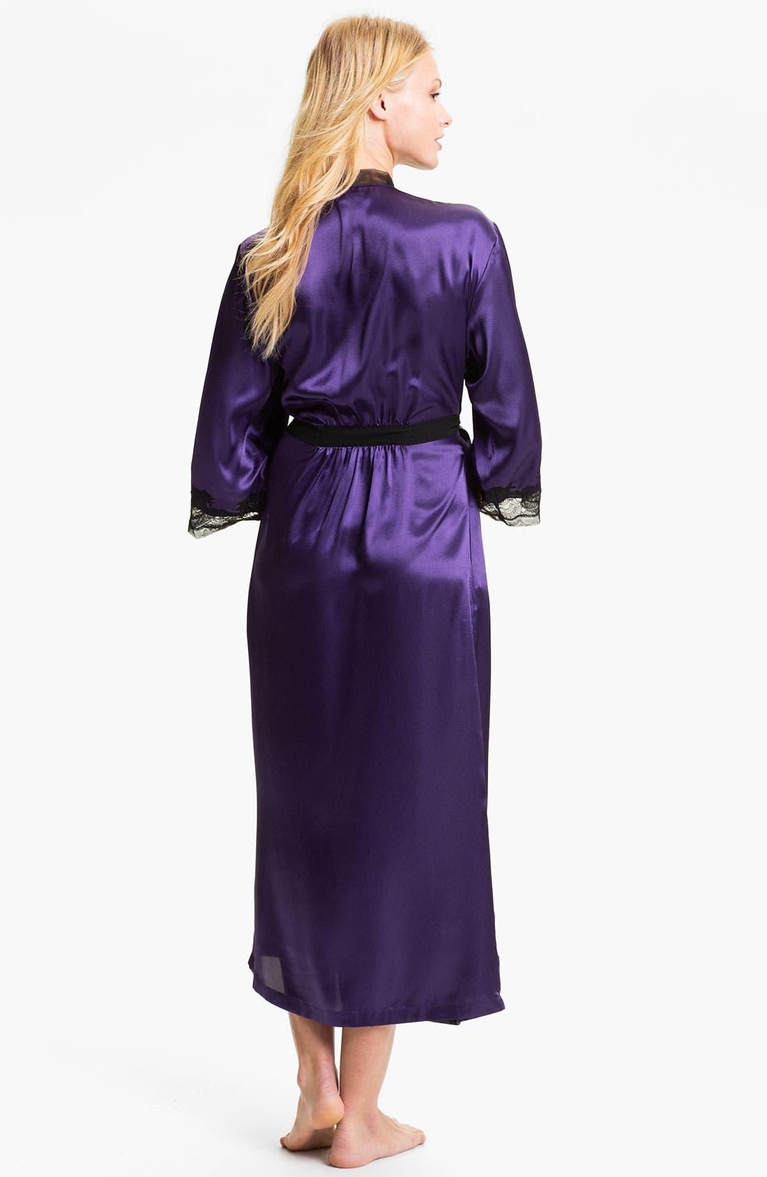 Sleepwear Lace Trim Charmeuse Robe,                             Alternate thumbnail 9, color,