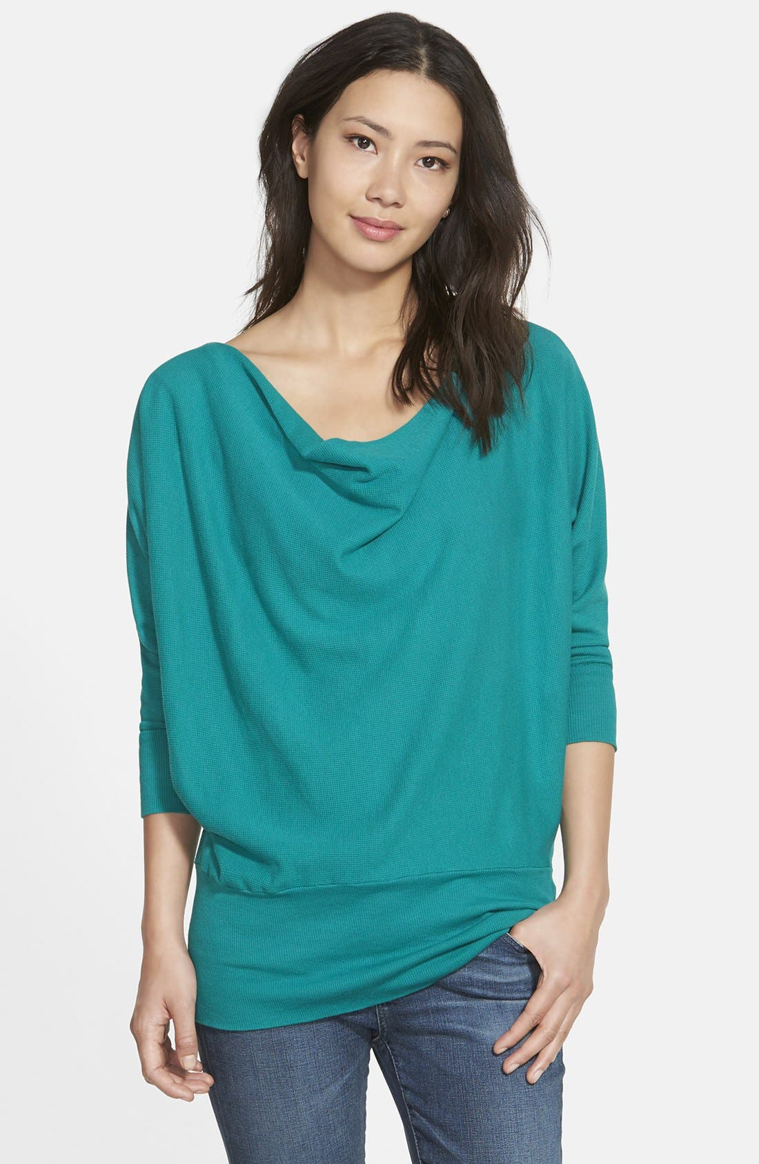 'Aidan' Drape Neck Thermal Top,                             Main thumbnail 4, color,
