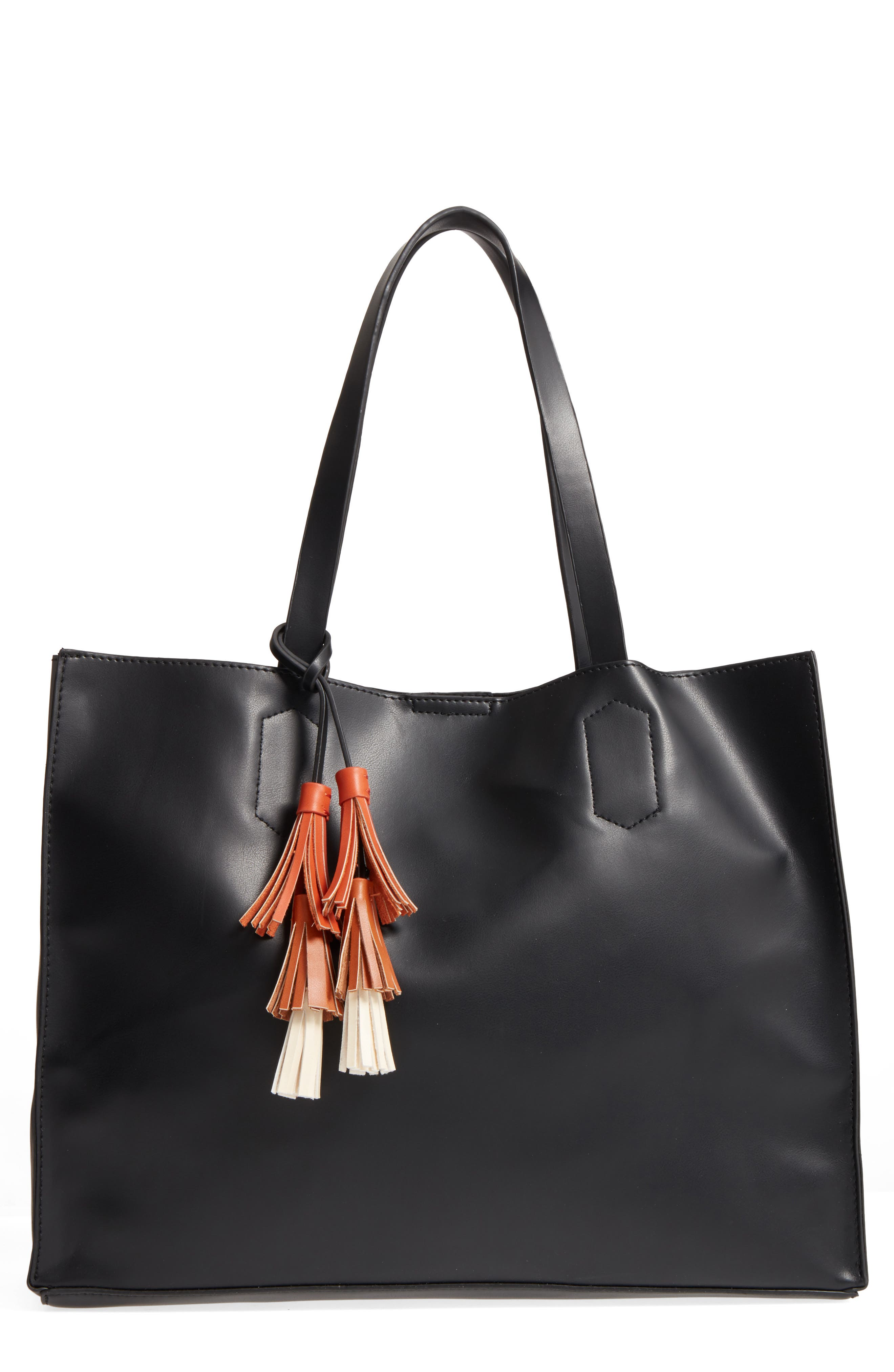 Tassel Faux Leather Tote,                         Main,                         color, 001