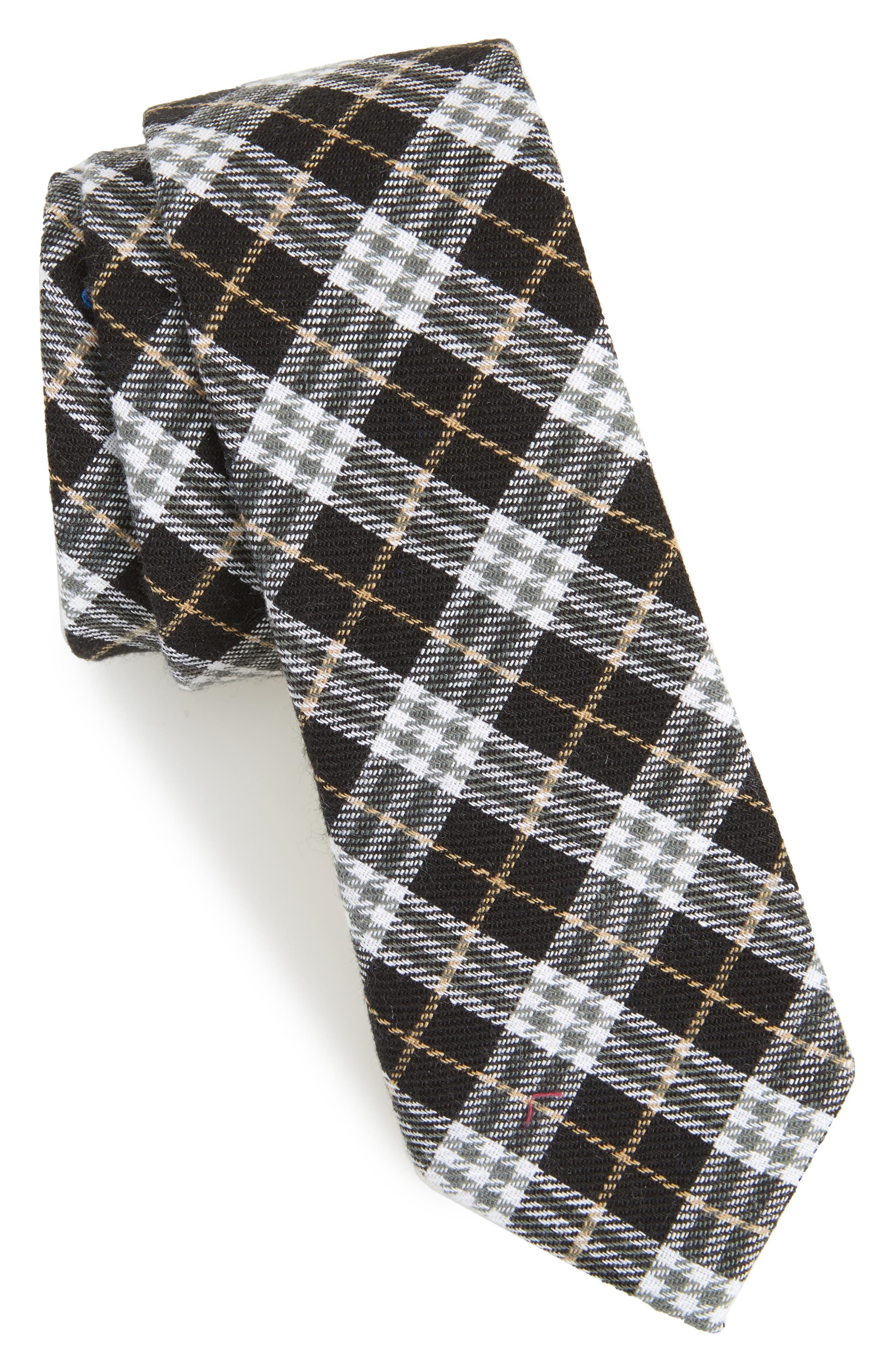 Siegel Plaid Cotton & Linen Skinny Tie,                             Main thumbnail 1, color,