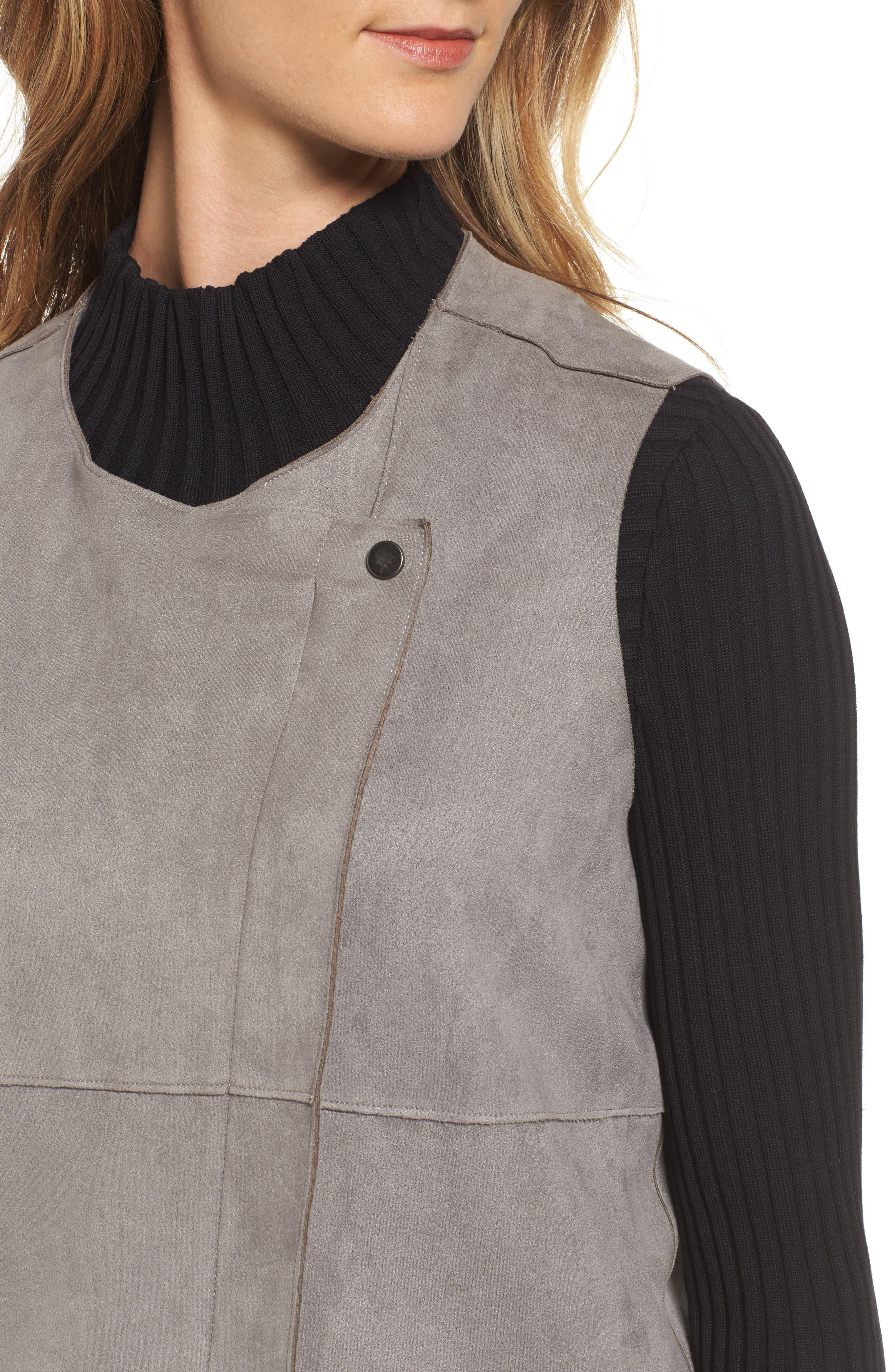 Asymmetrical Faux Suede Vest,                             Alternate thumbnail 4, color,