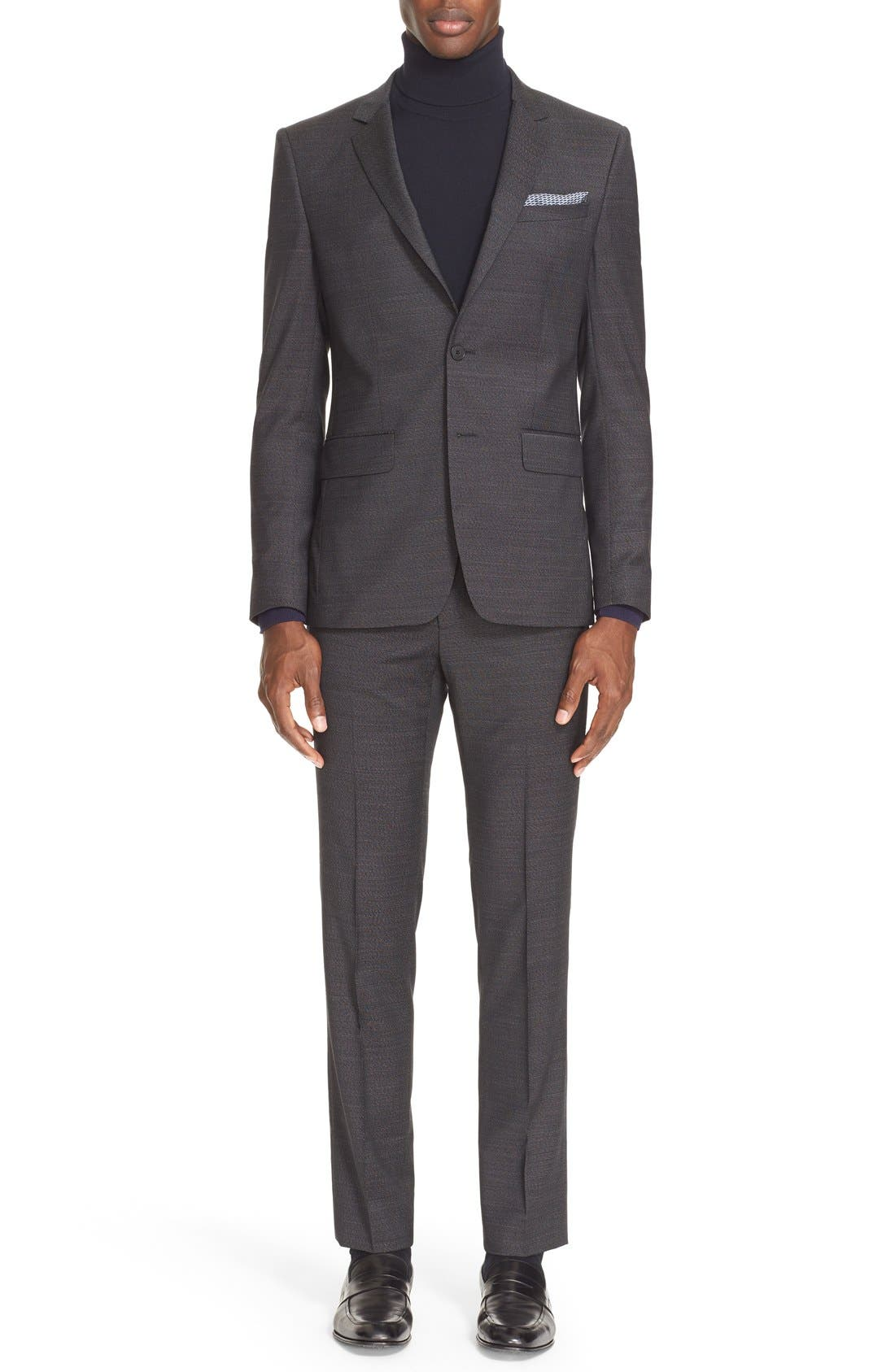 Extra Trim Fit Textured Wool Suit,                         Main,                         color, BLACK