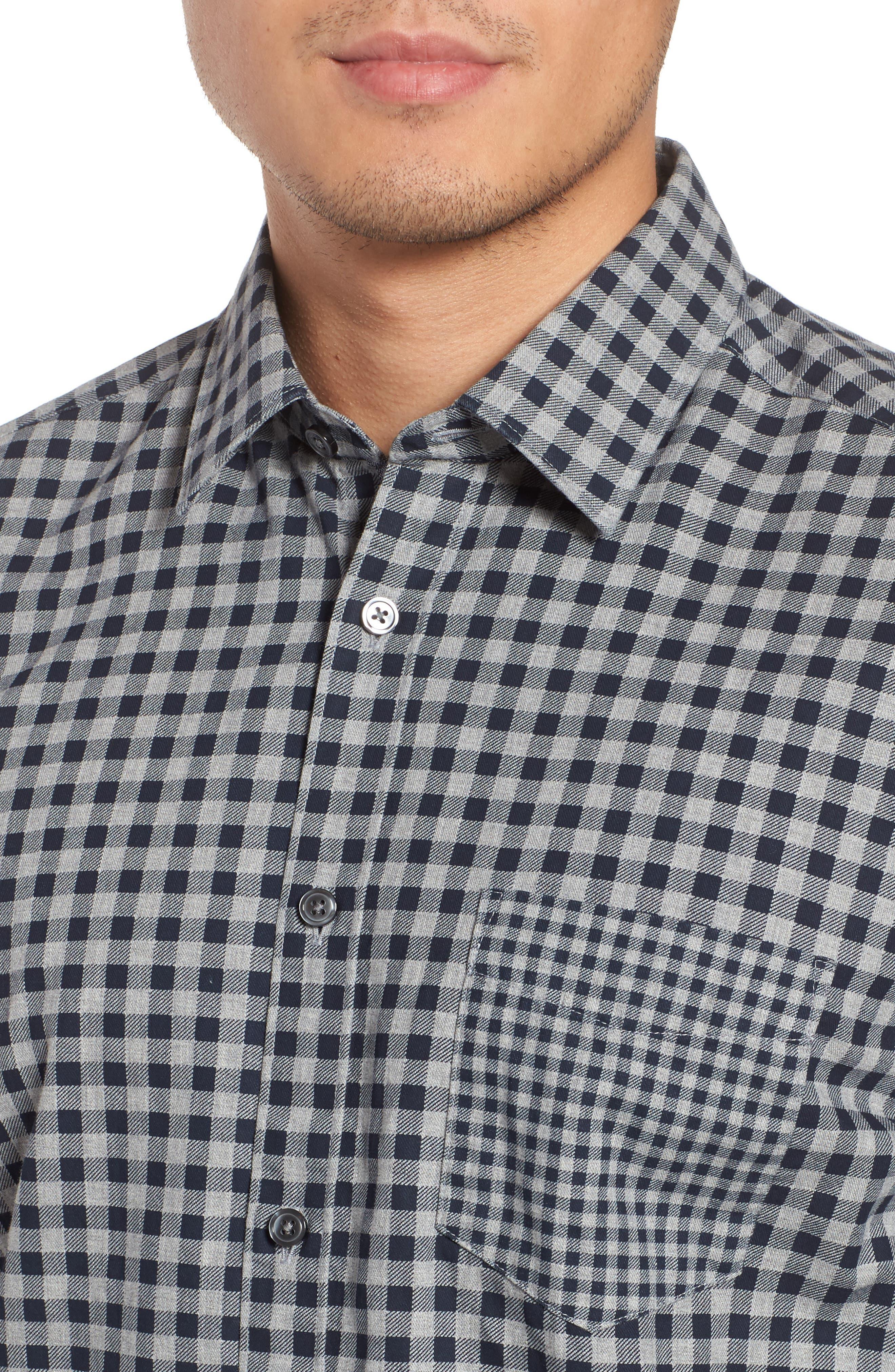 Lance Regular Fit Gingham Sport Shirt,                             Alternate thumbnail 4, color,                             410