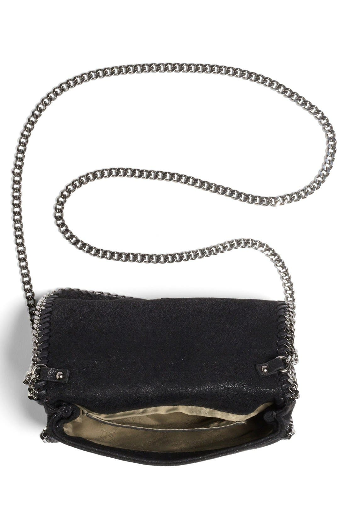 'Falabella - Shaggy Deer' Faux Leather Crossbody Bag,                             Alternate thumbnail 9, color,                             BLACK SLVR HRDWR
