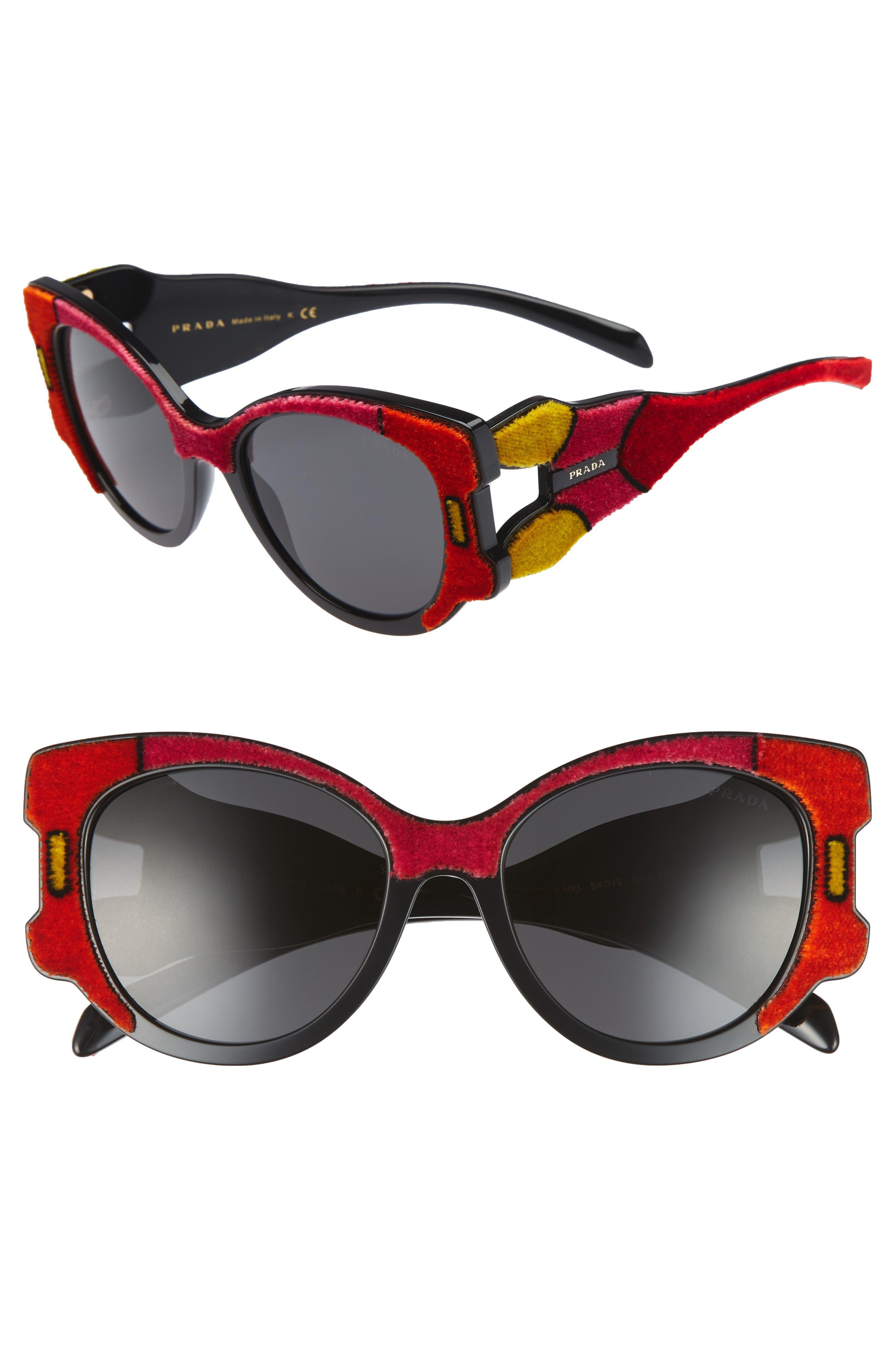 54mm Colorblock Round Sunglasses,                             Main thumbnail 1, color,                             010