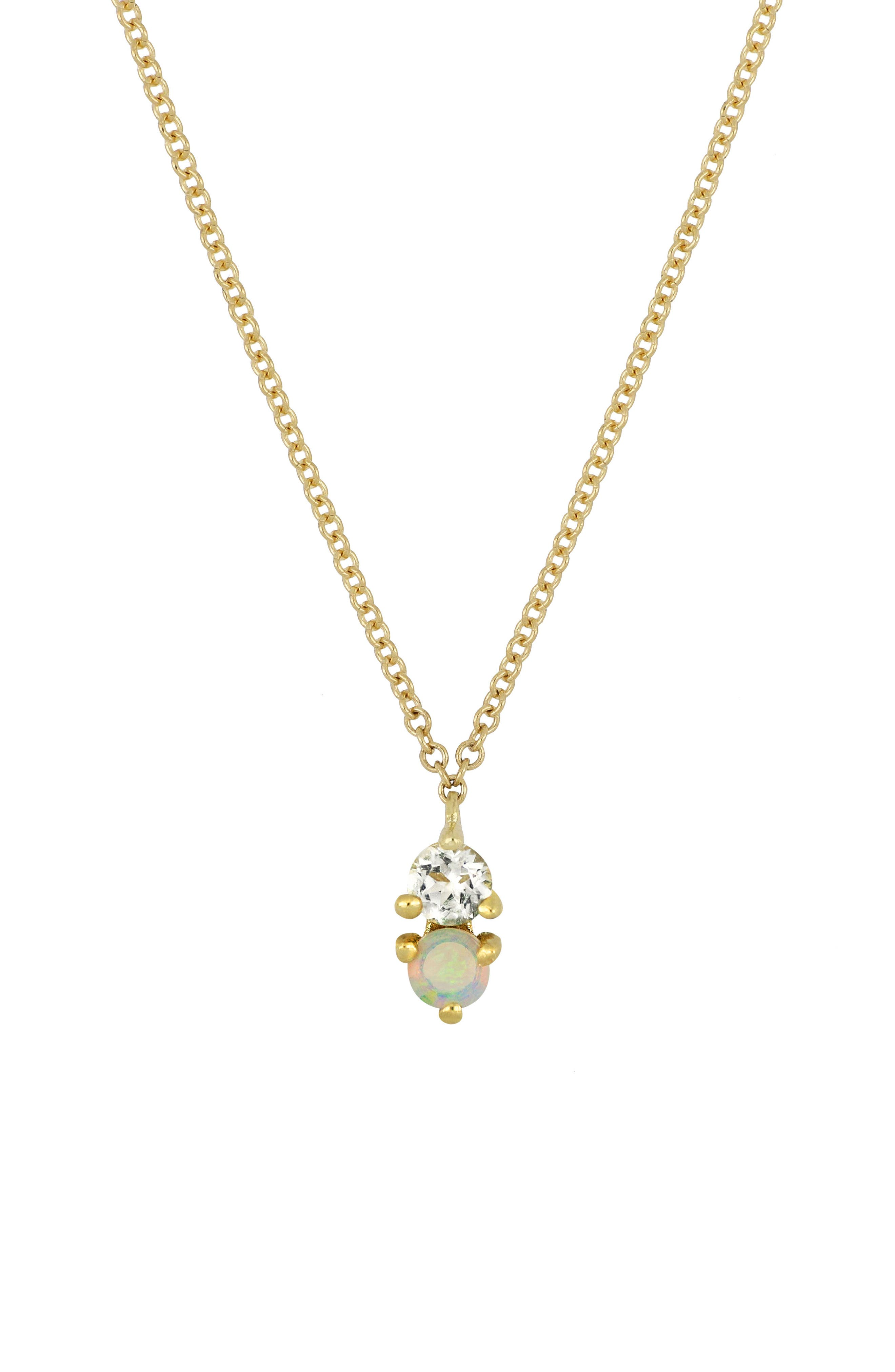 Birthstone Pendant Necklace,                         Main,                         color, OCTOBER/ OPAL