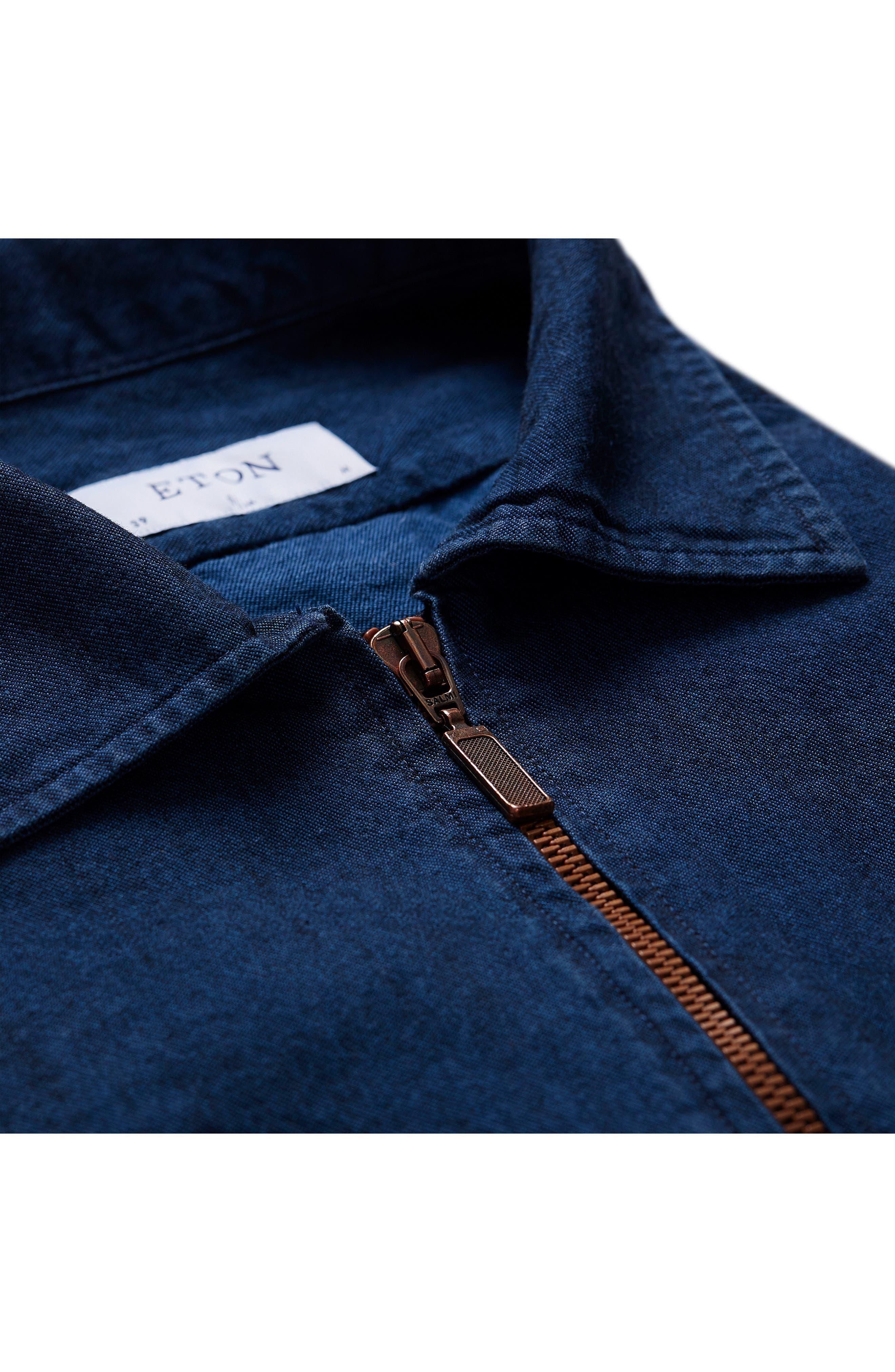 Slim Fit Chambray Zip Sport Shirt Jacket,                             Alternate thumbnail 6, color,                             400
