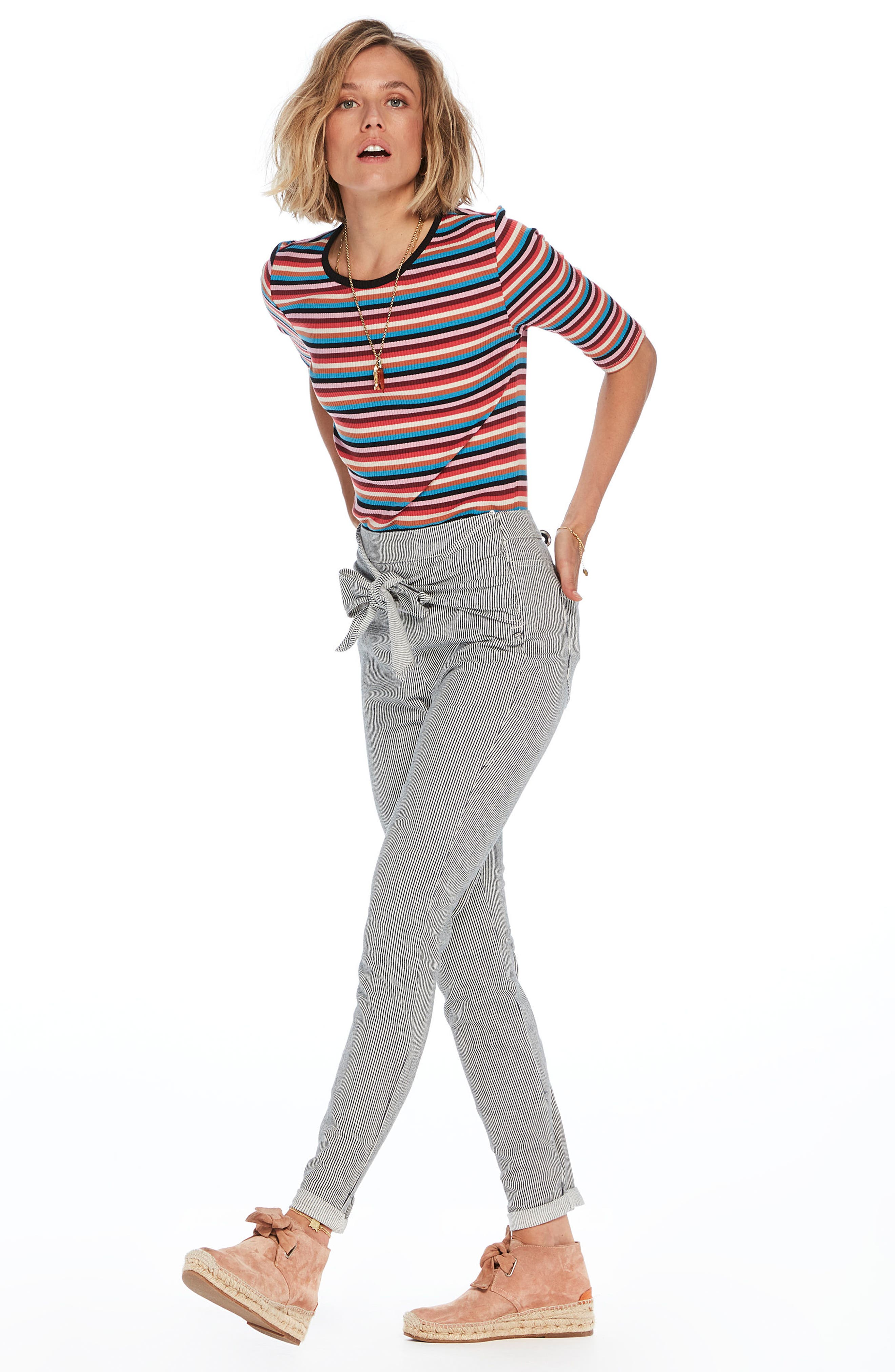 Stripe Tie Front Skinny Pants,                             Alternate thumbnail 4, color,
