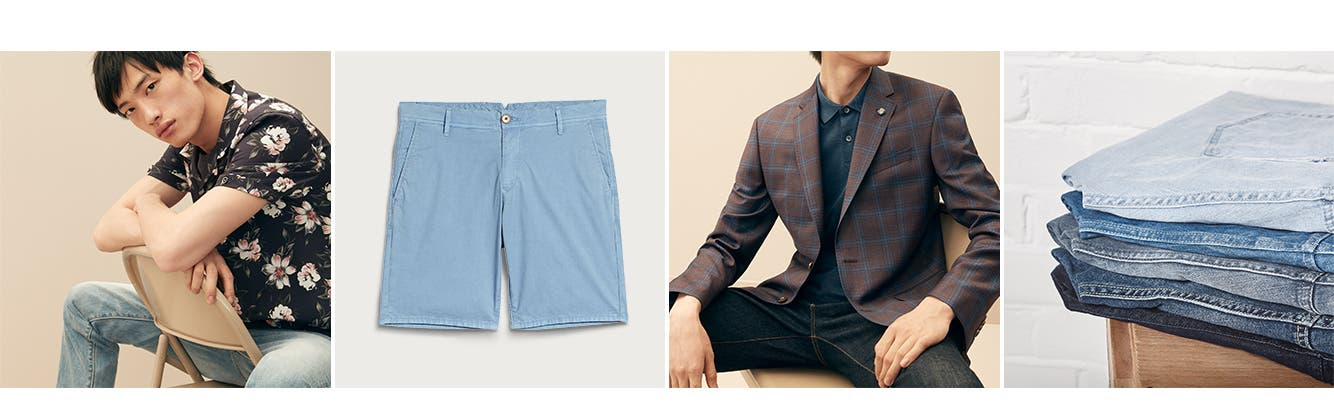 The season's go-to picks: men's shirts, shorts, blazers and sport coats, and jeans.