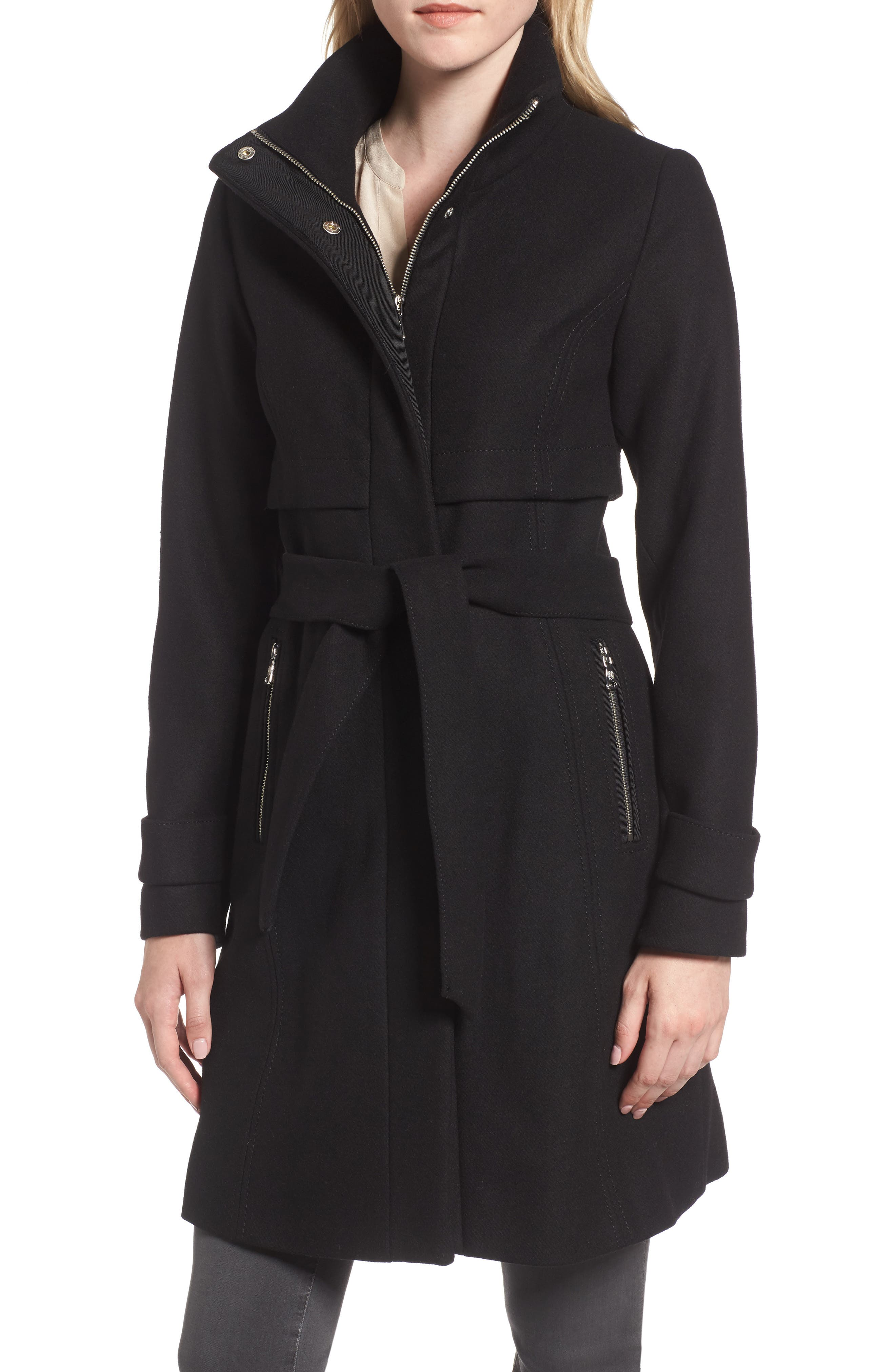 Flange Belted Coat,                             Main thumbnail 1, color,                             001
