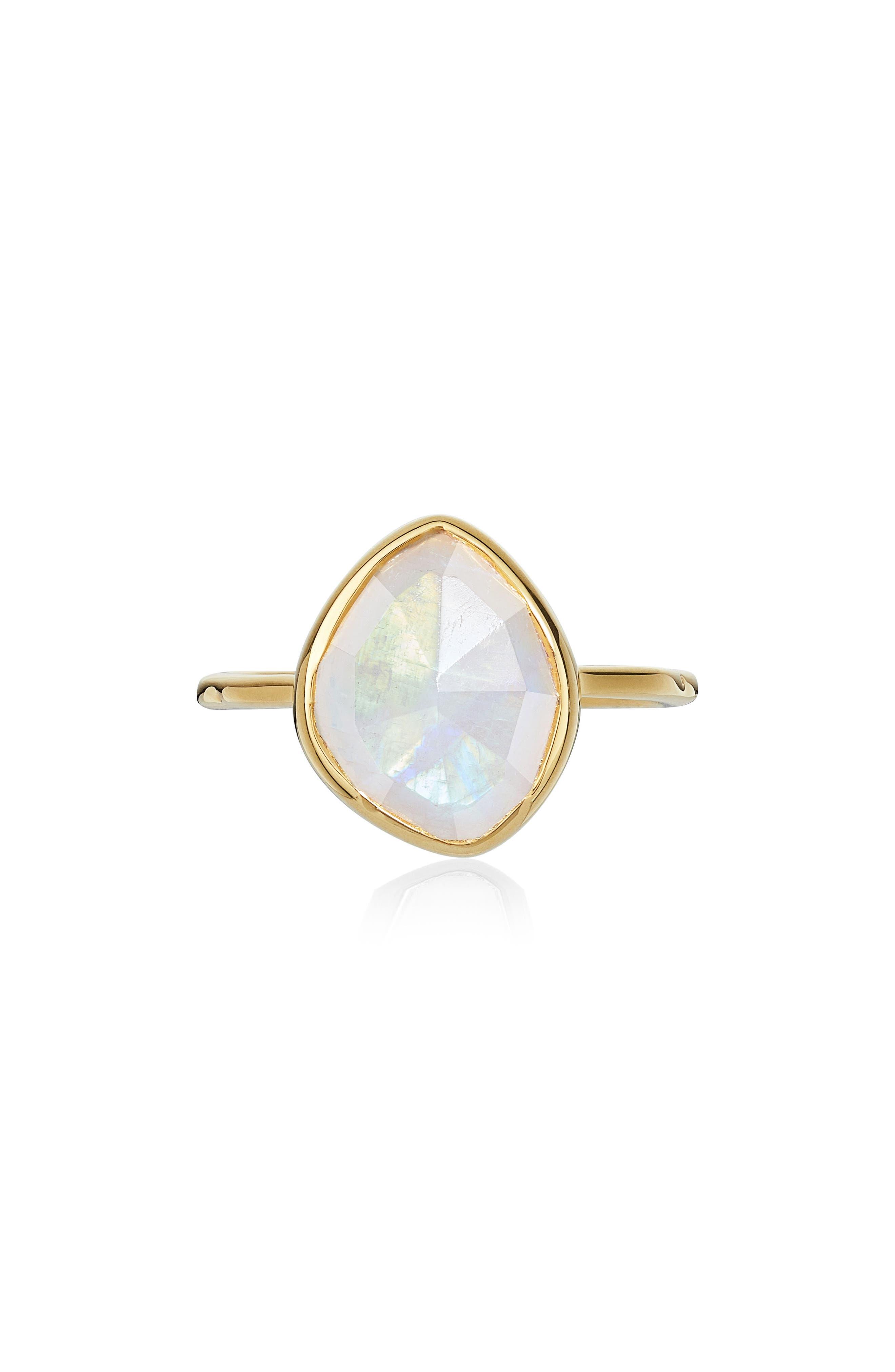 Siren Small Nugget Stacking Ring,                             Main thumbnail 1, color,                             YELLOW GOLD/ MOONSTONE