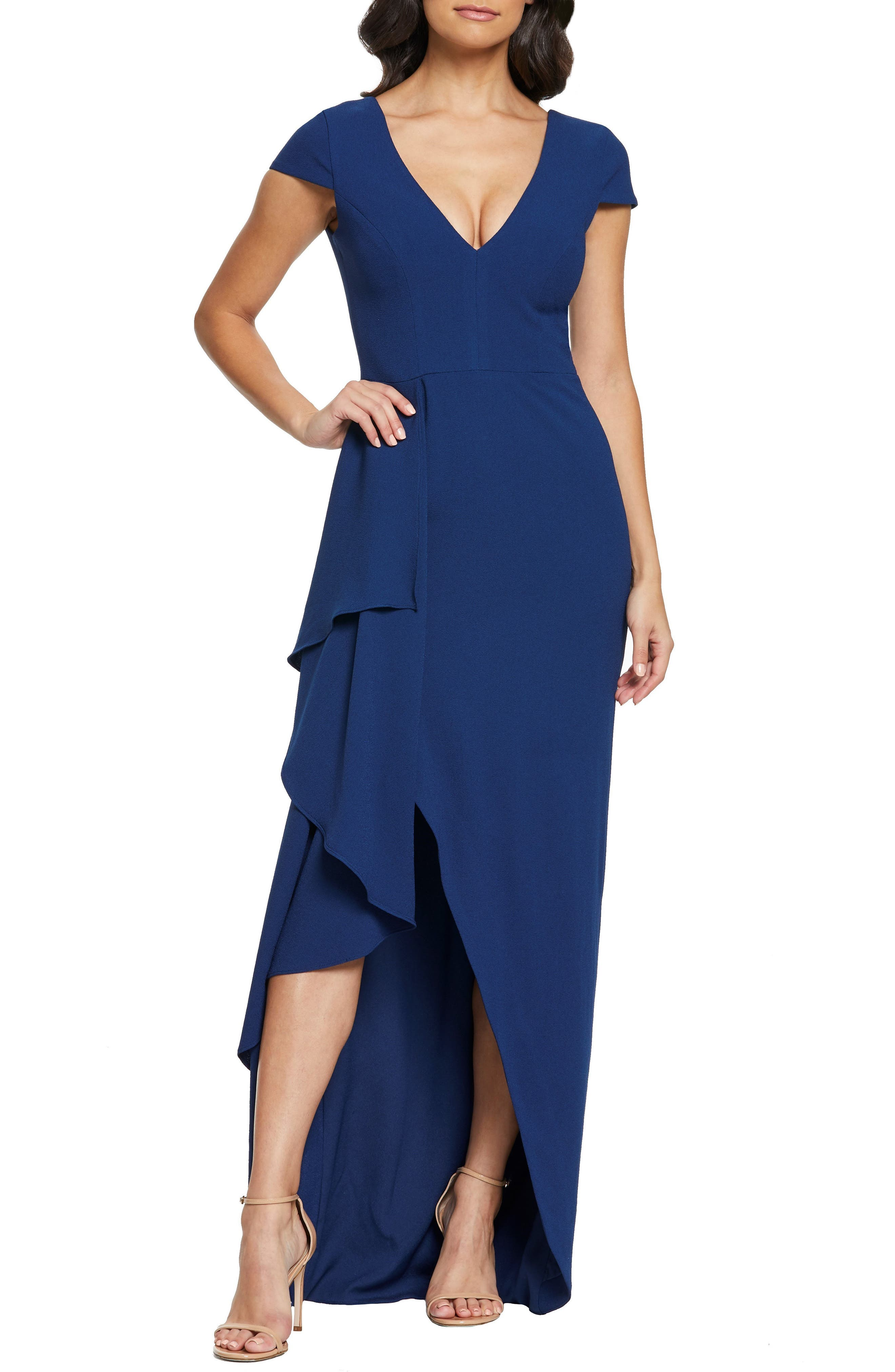 Dress The Population Alma Cap Sleeve Waterfall Crepe Gown, Blue