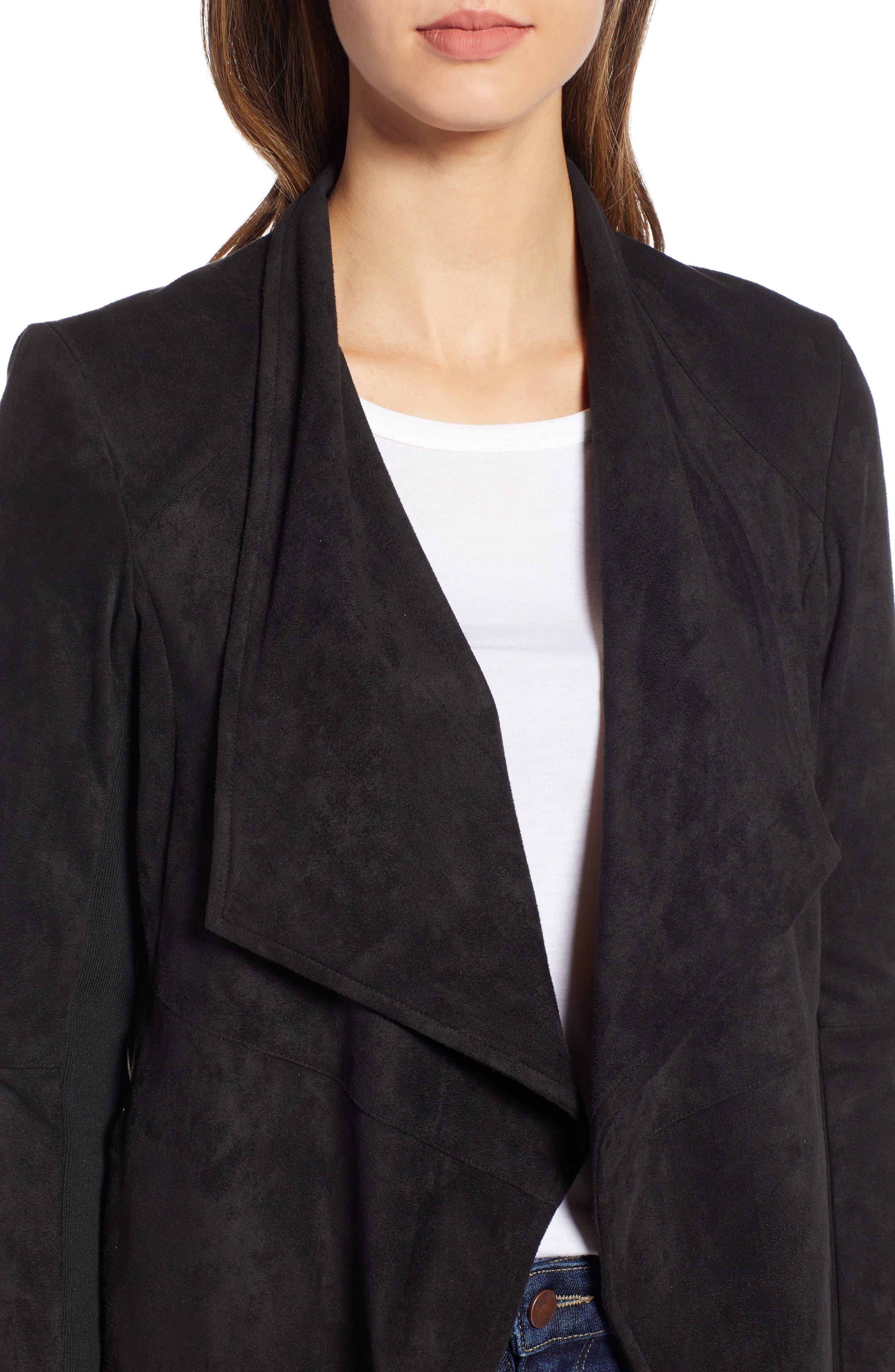 Nicholson Faux Suede Drape Front Jacket,                             Alternate thumbnail 4, color,                             001
