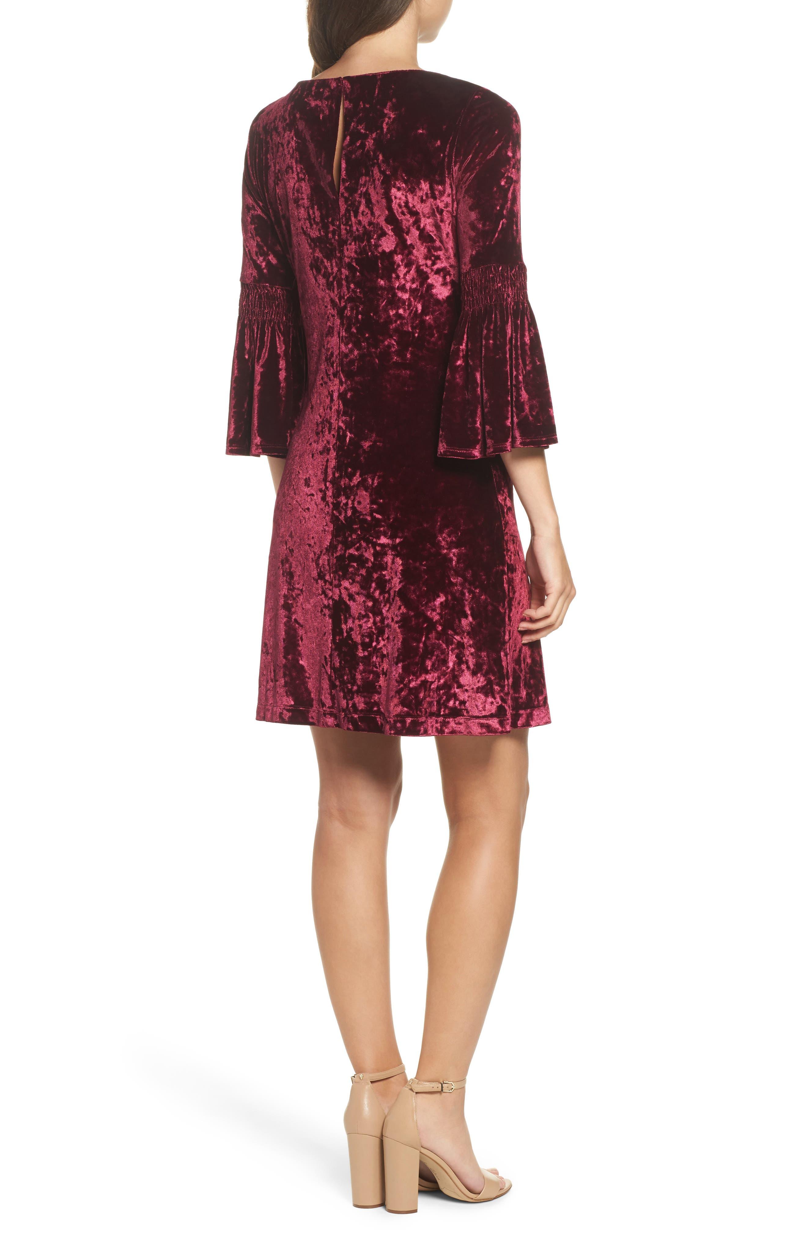 Crushed Velvet Bell Sleeve Dress,                             Alternate thumbnail 2, color,                             601