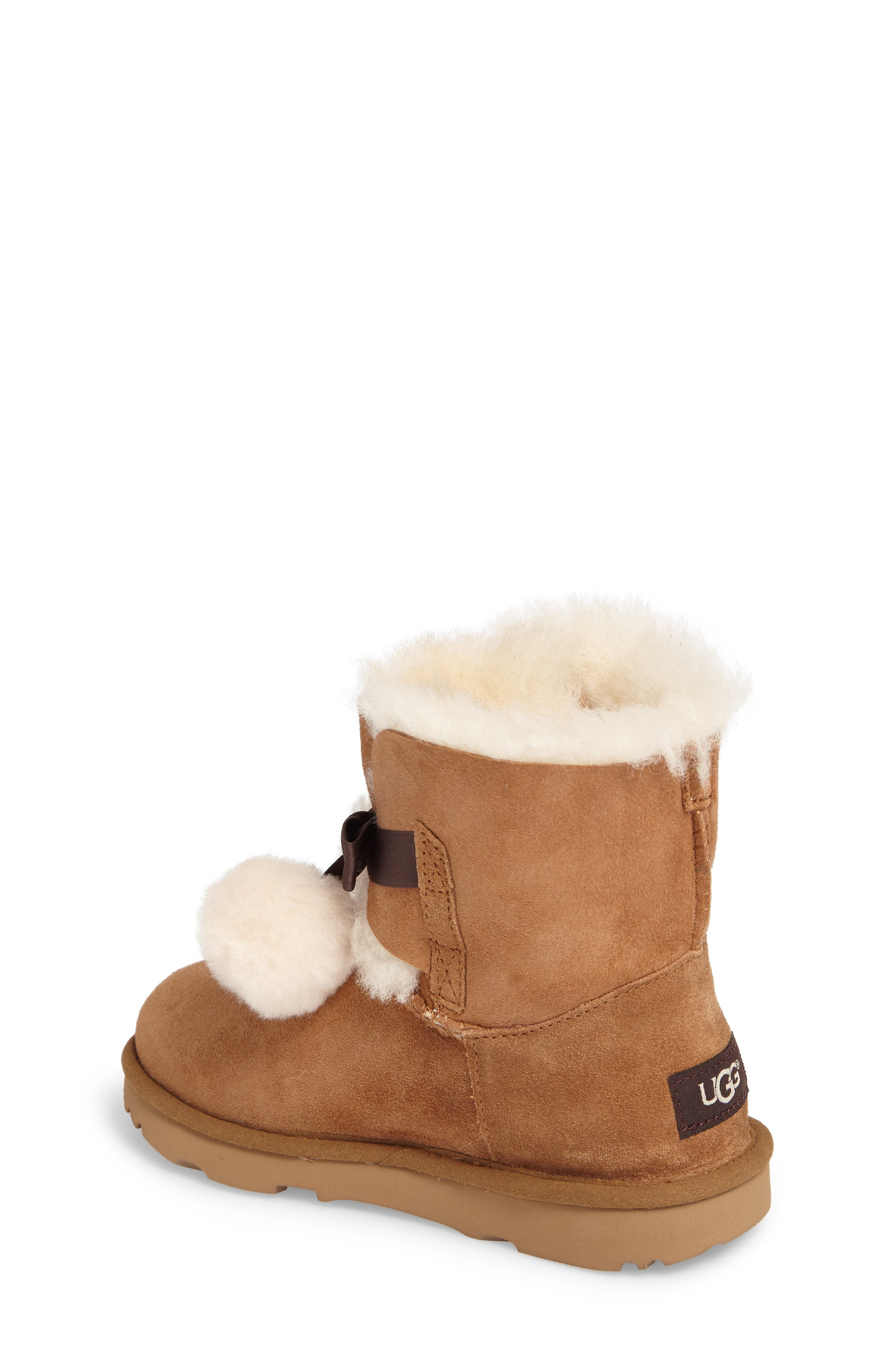Gita Water-Resistant Genuine Shearling Pom Boot,                             Alternate thumbnail 2, color,                             CHESTNUT