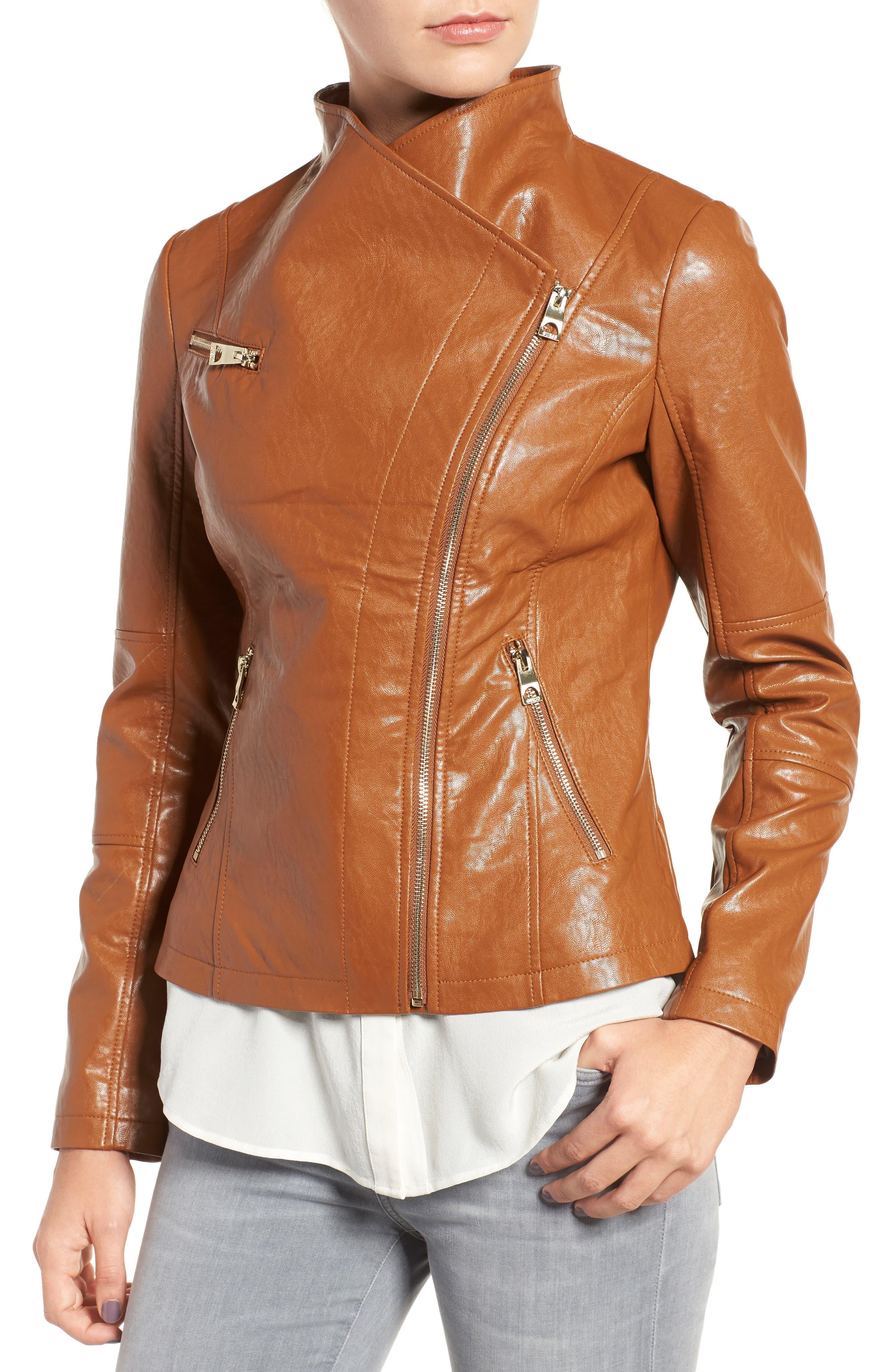 Asymmetrical Faux Leather Jacket,                             Alternate thumbnail 4, color,                             239