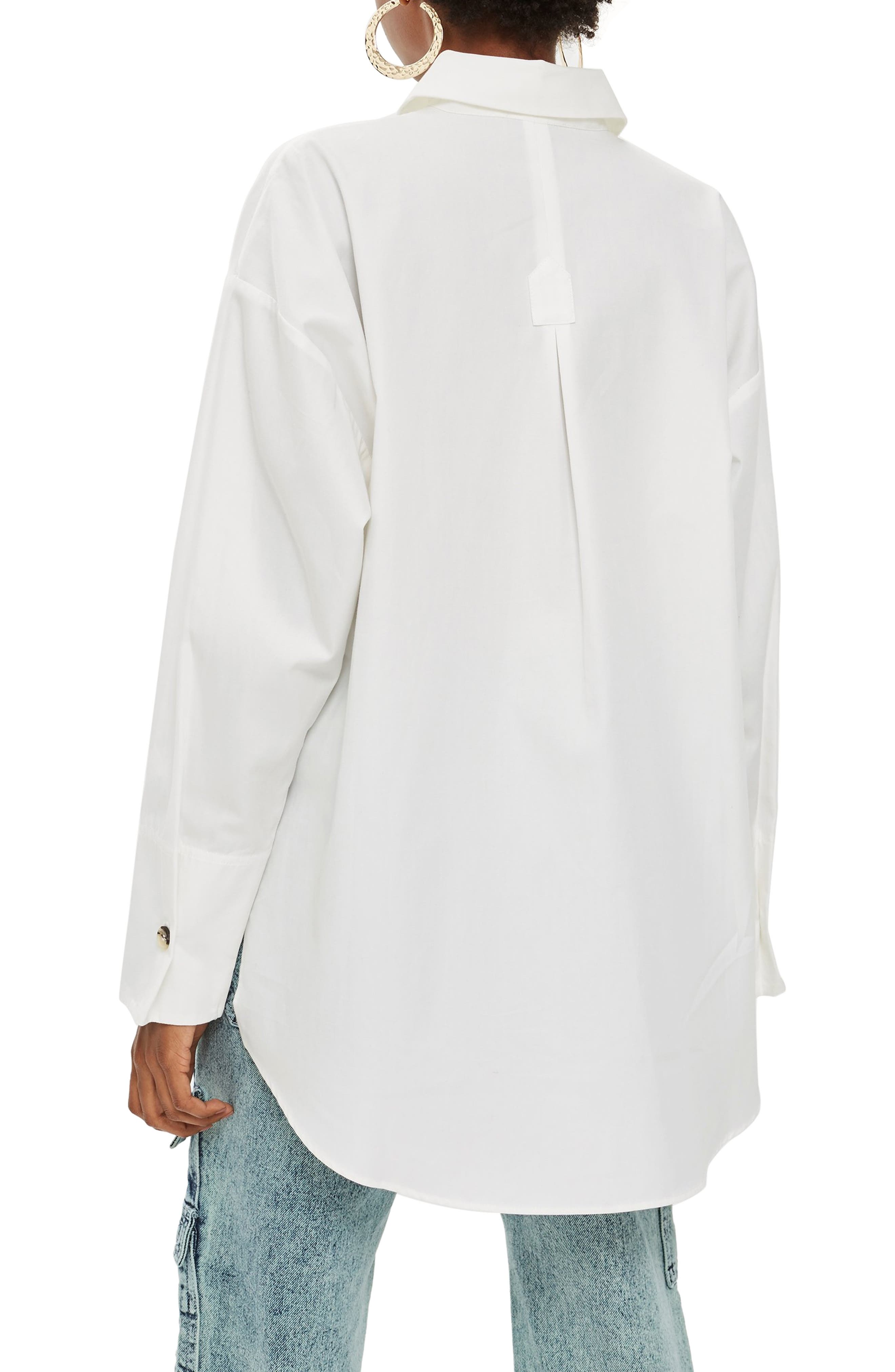 Oversized Split Side Cotton Shirt,                             Alternate thumbnail 2, color,                             CREAM