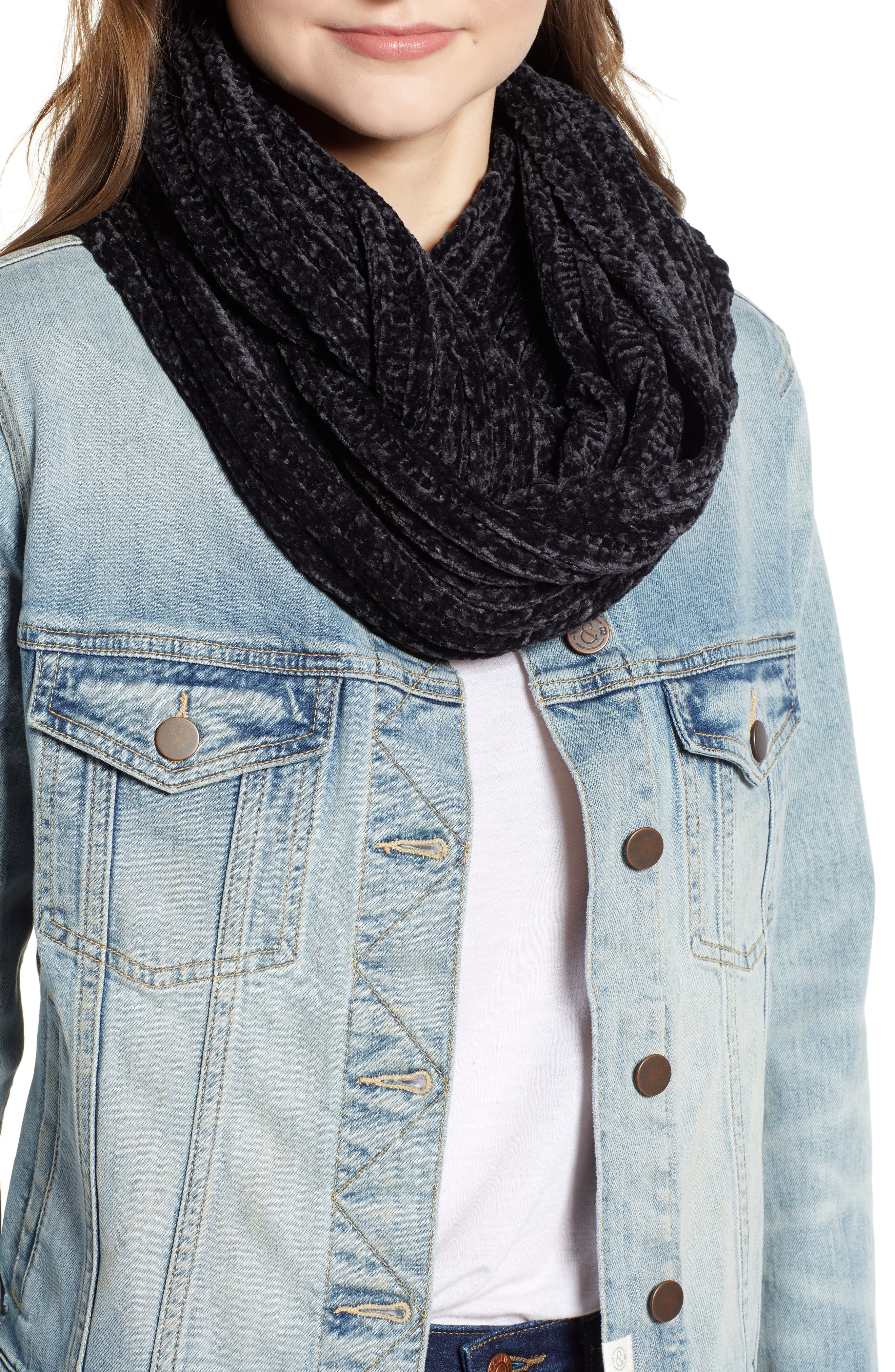 Chenille Infinity Scarf,                             Main thumbnail 1, color,                             BLACK