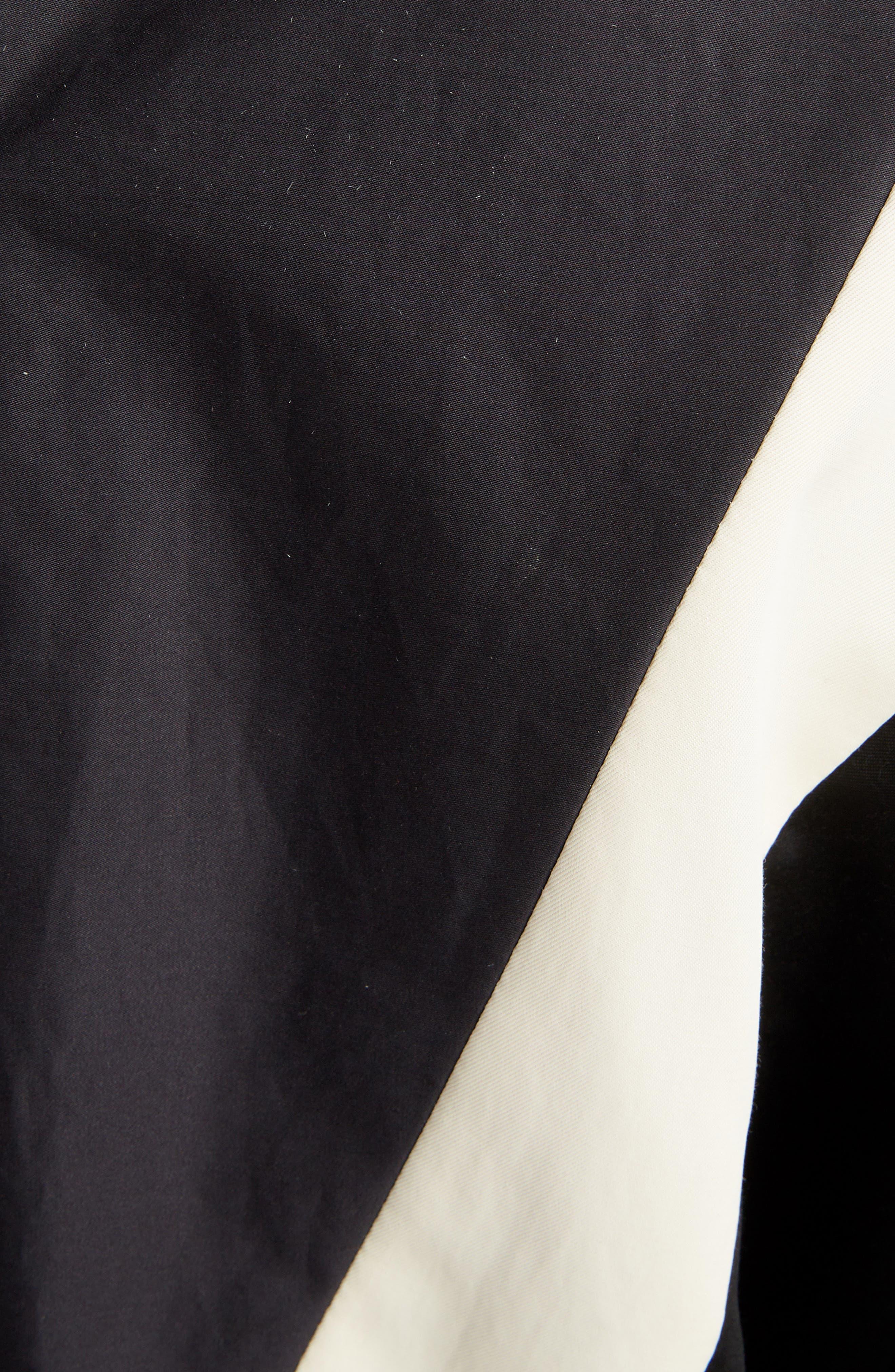 Placed Print Poplin Dress,                             Alternate thumbnail 5, color,                             BLACK