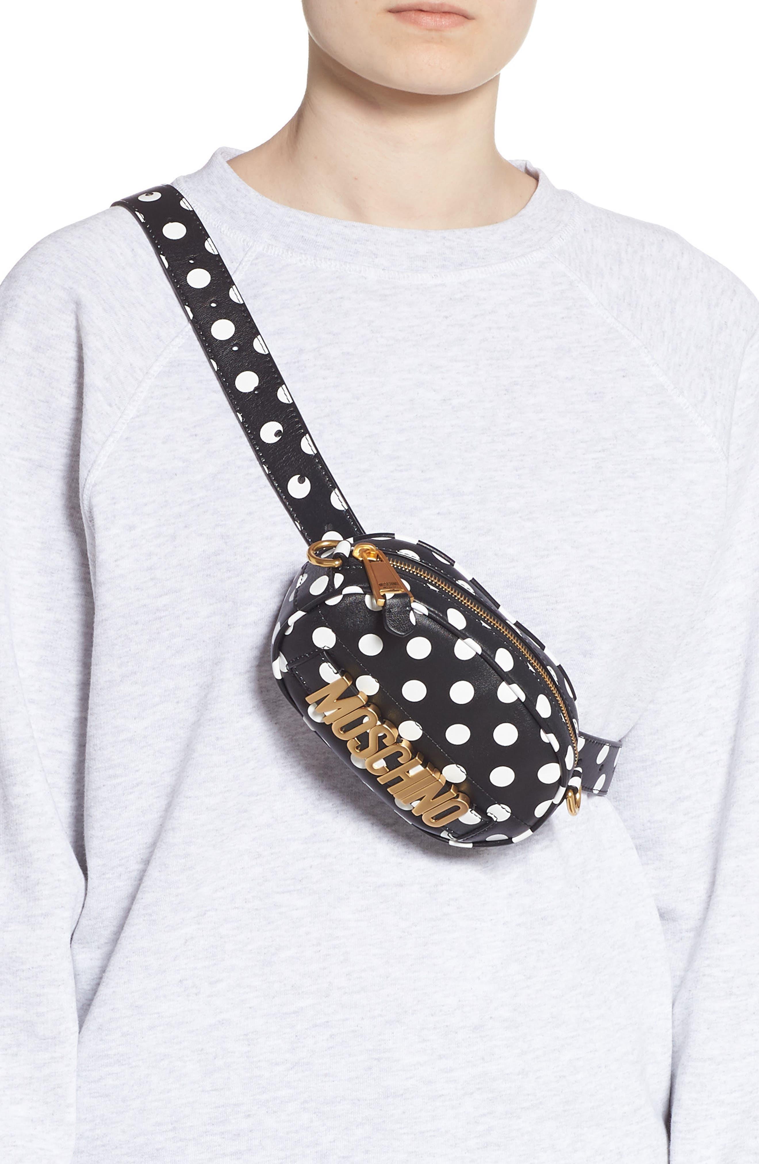 Logo Polka Dot Belt Bag,                             Alternate thumbnail 4, color,                             BLACK/ WHITE