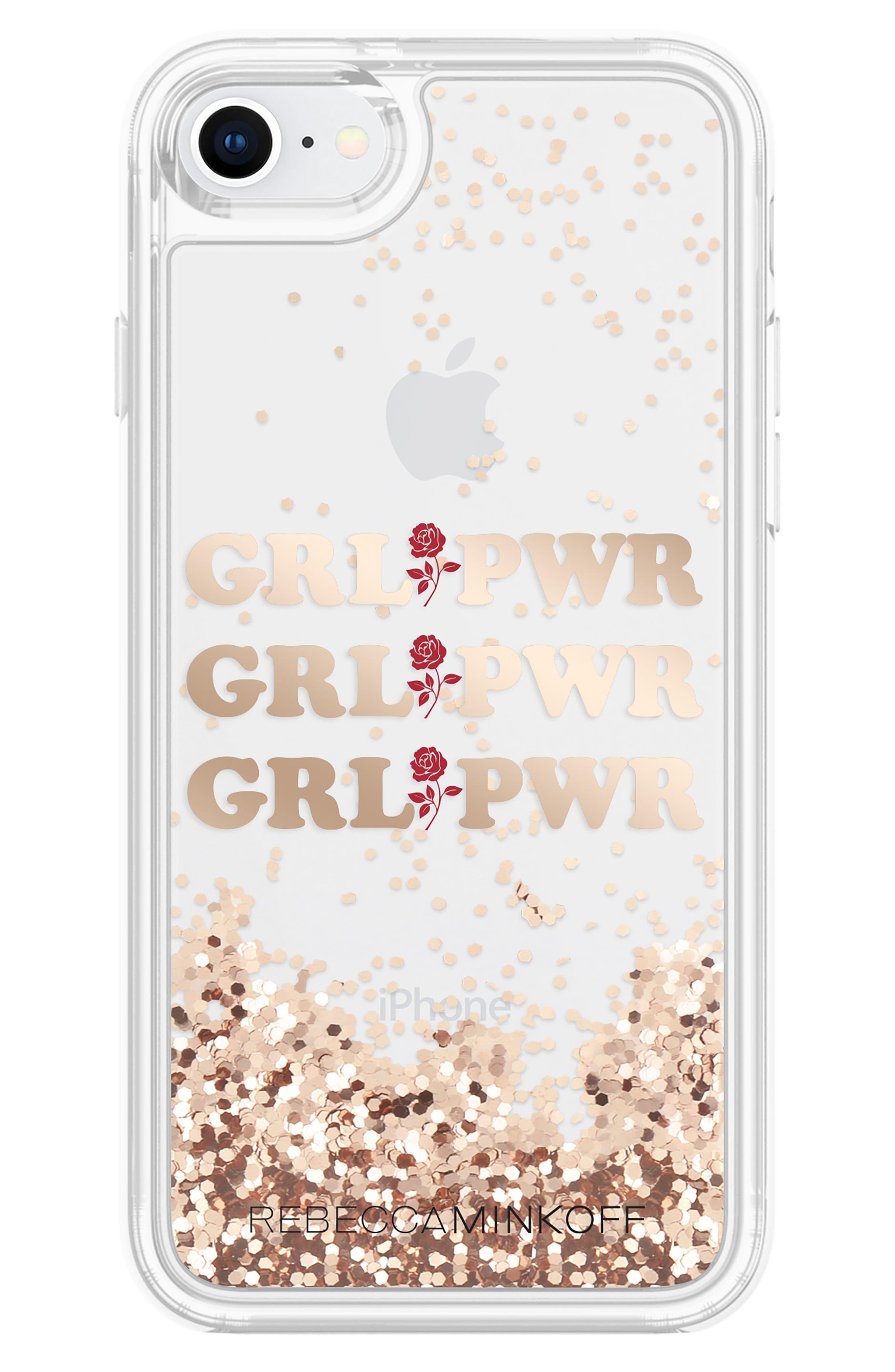 Grl Pwr Glitterfall iPhone 7/8 & 7/8 Plus Case,                             Alternate thumbnail 2, color,                             ROSE GOLD