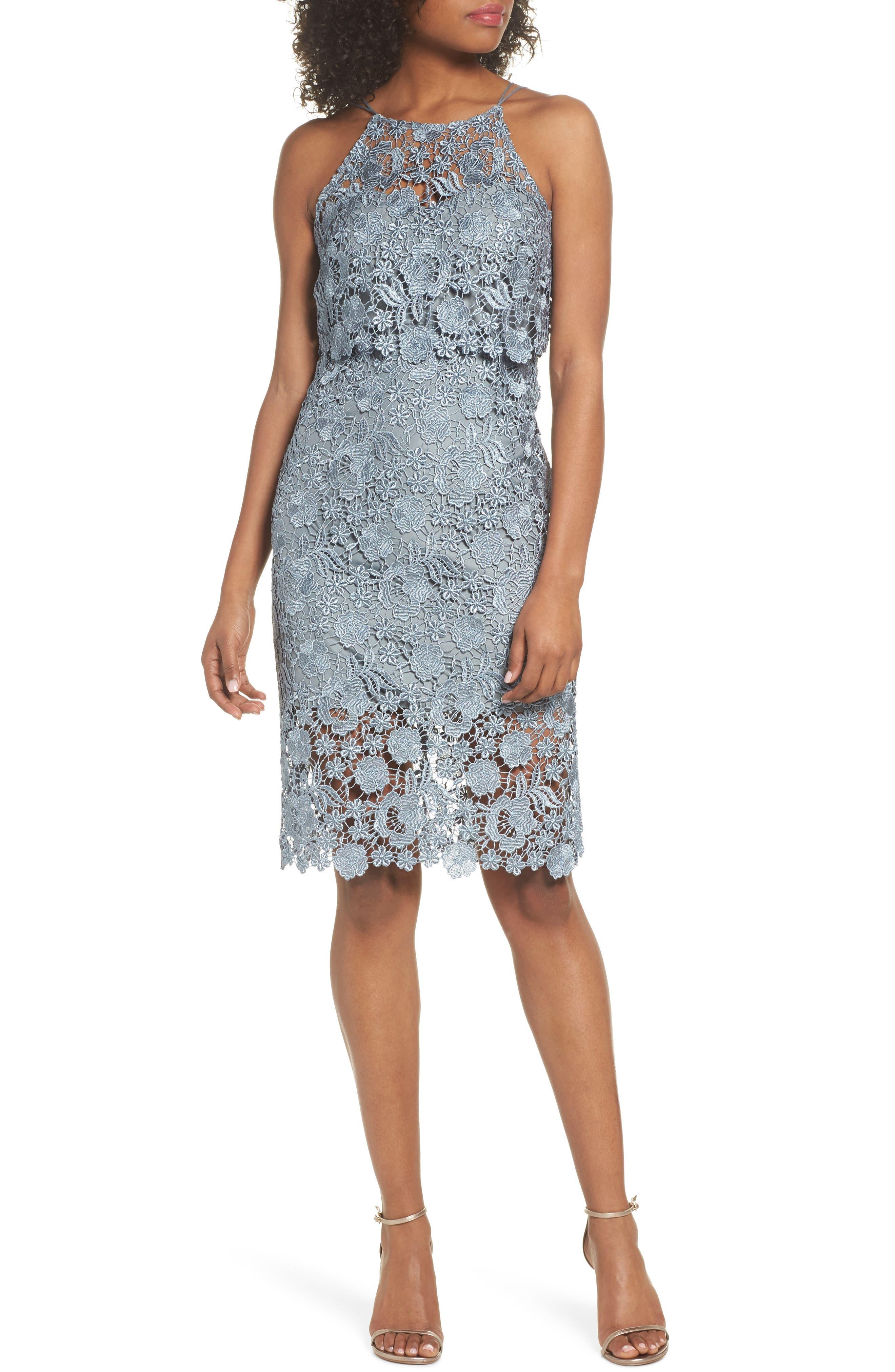 Freya Lace Sheath Dress,                         Main,                         color, MAYAN BLUE