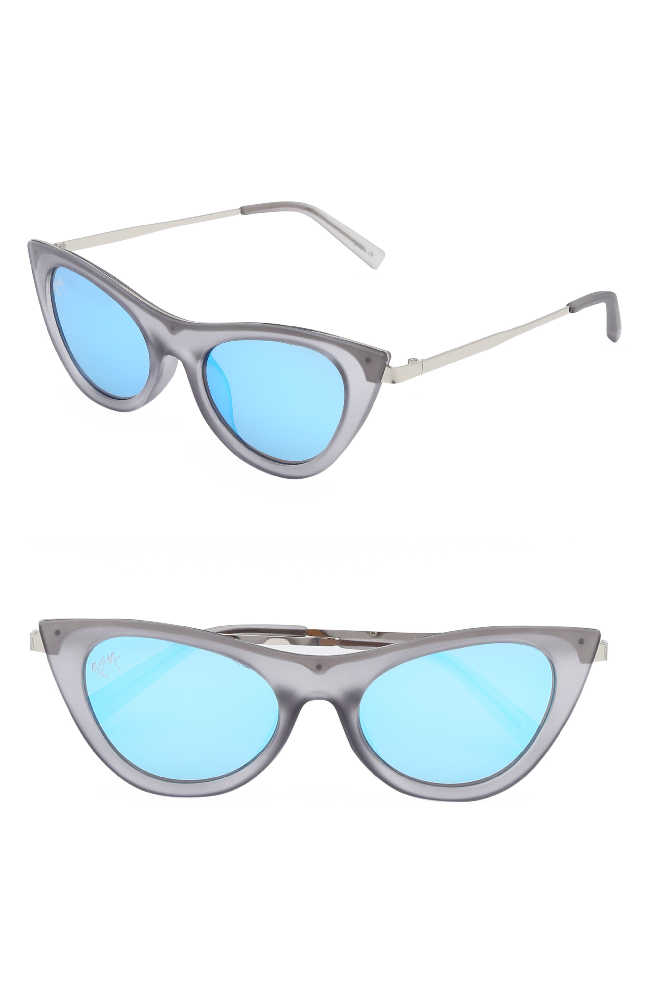 Nem Cruise 50Mm Cat Eye Sunglasses - Clear Grey W Sky Blue Mirror