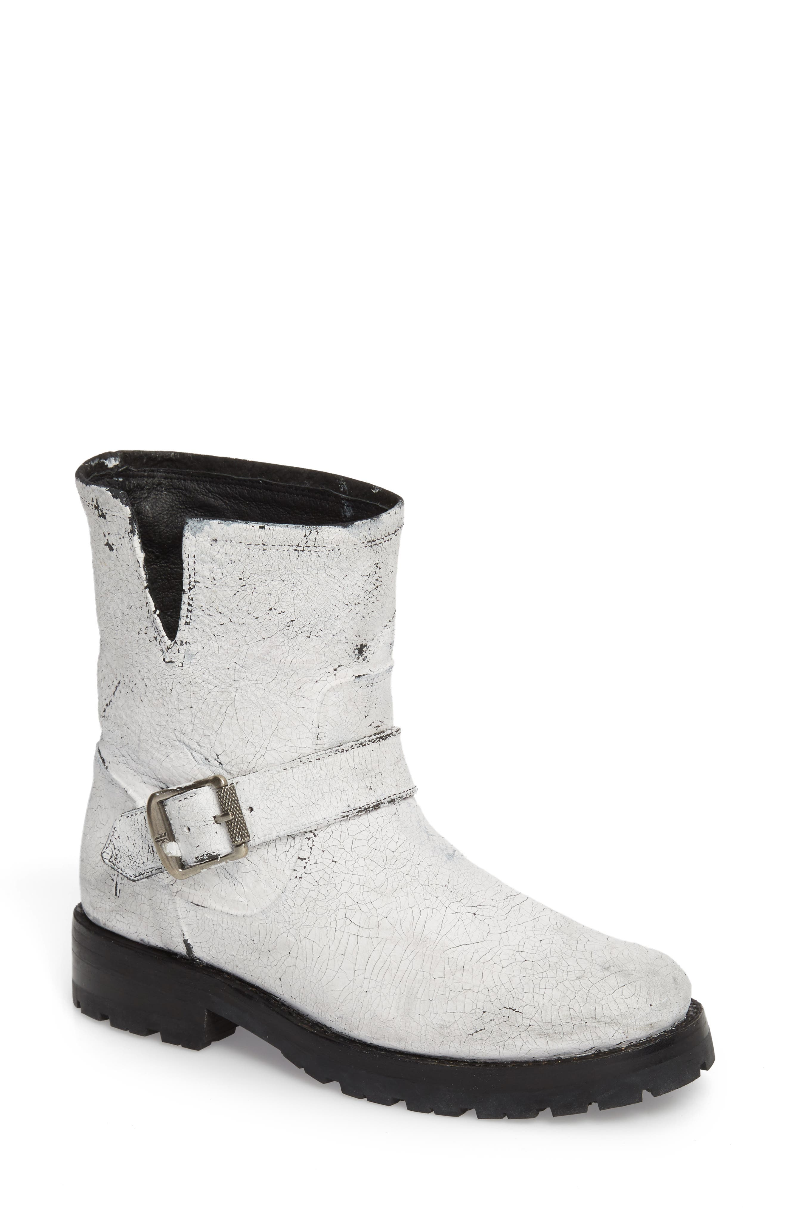 Natalie Engineer Boot,                         Main,                         color, WHITE LEATHER