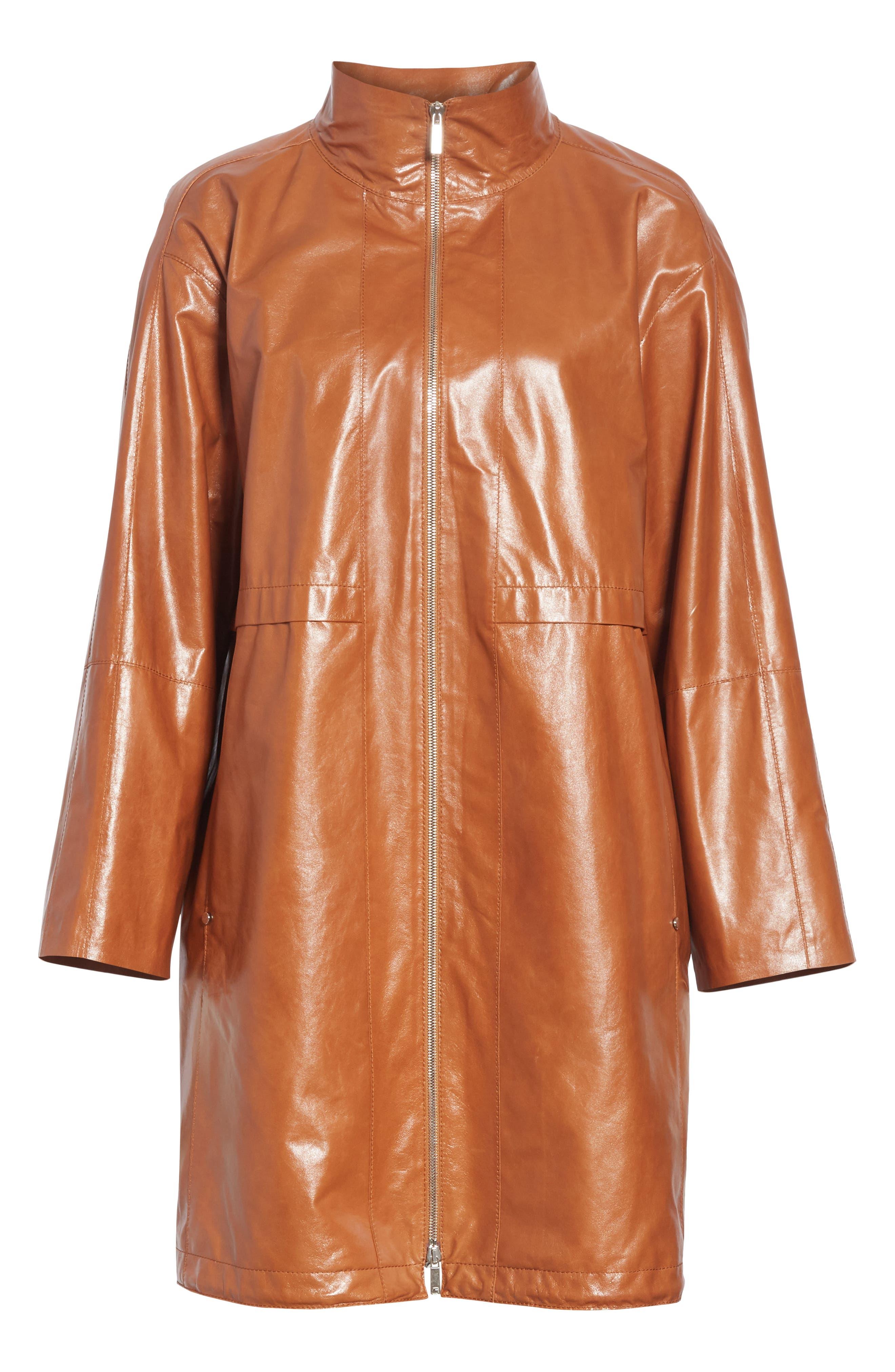 Minerva Leather Jacket,                             Alternate thumbnail 6, color,                             OCHRE