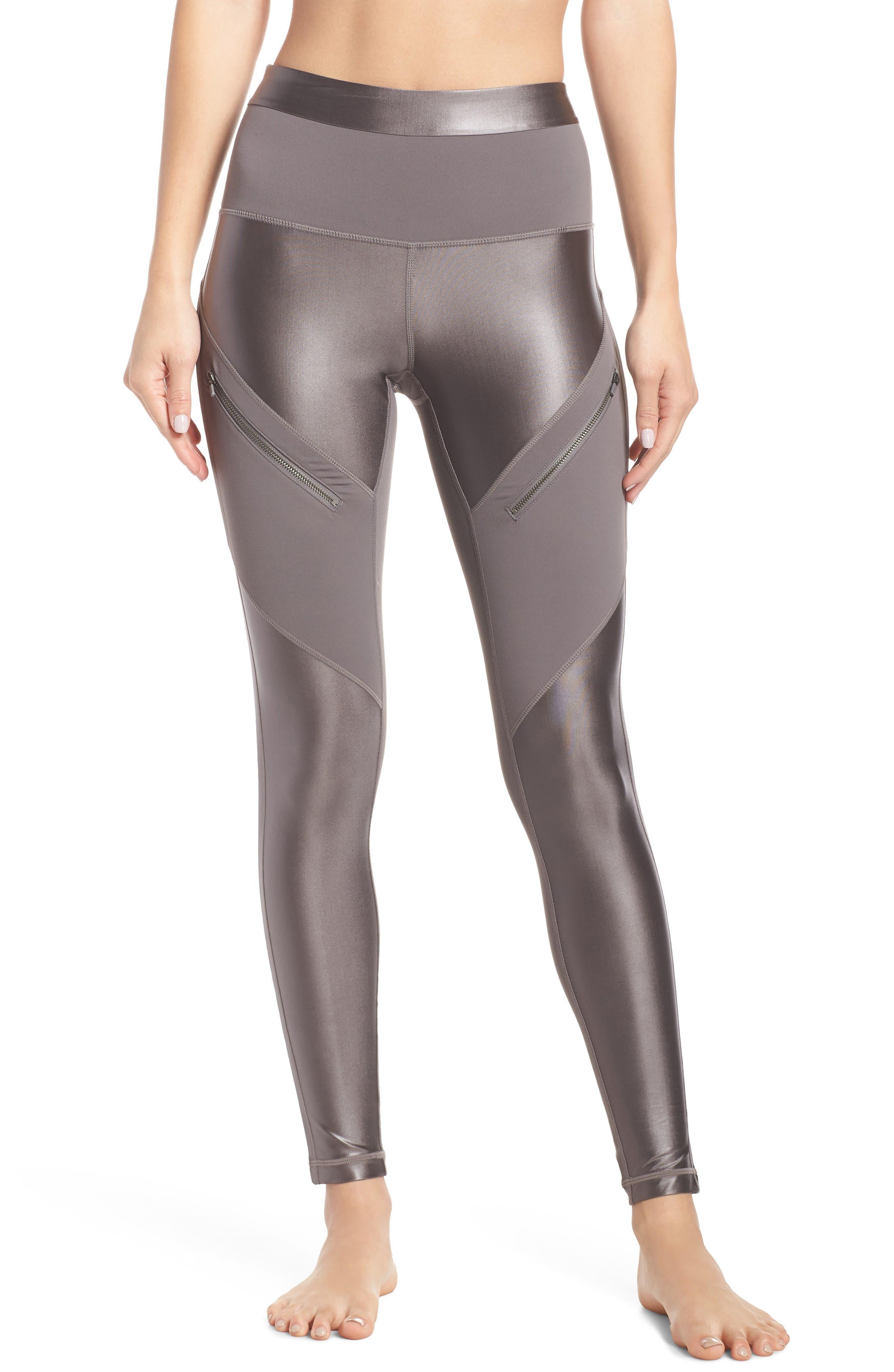 ZELLA Shine Zip High Waist Ankle Leggings, Main, color, 021